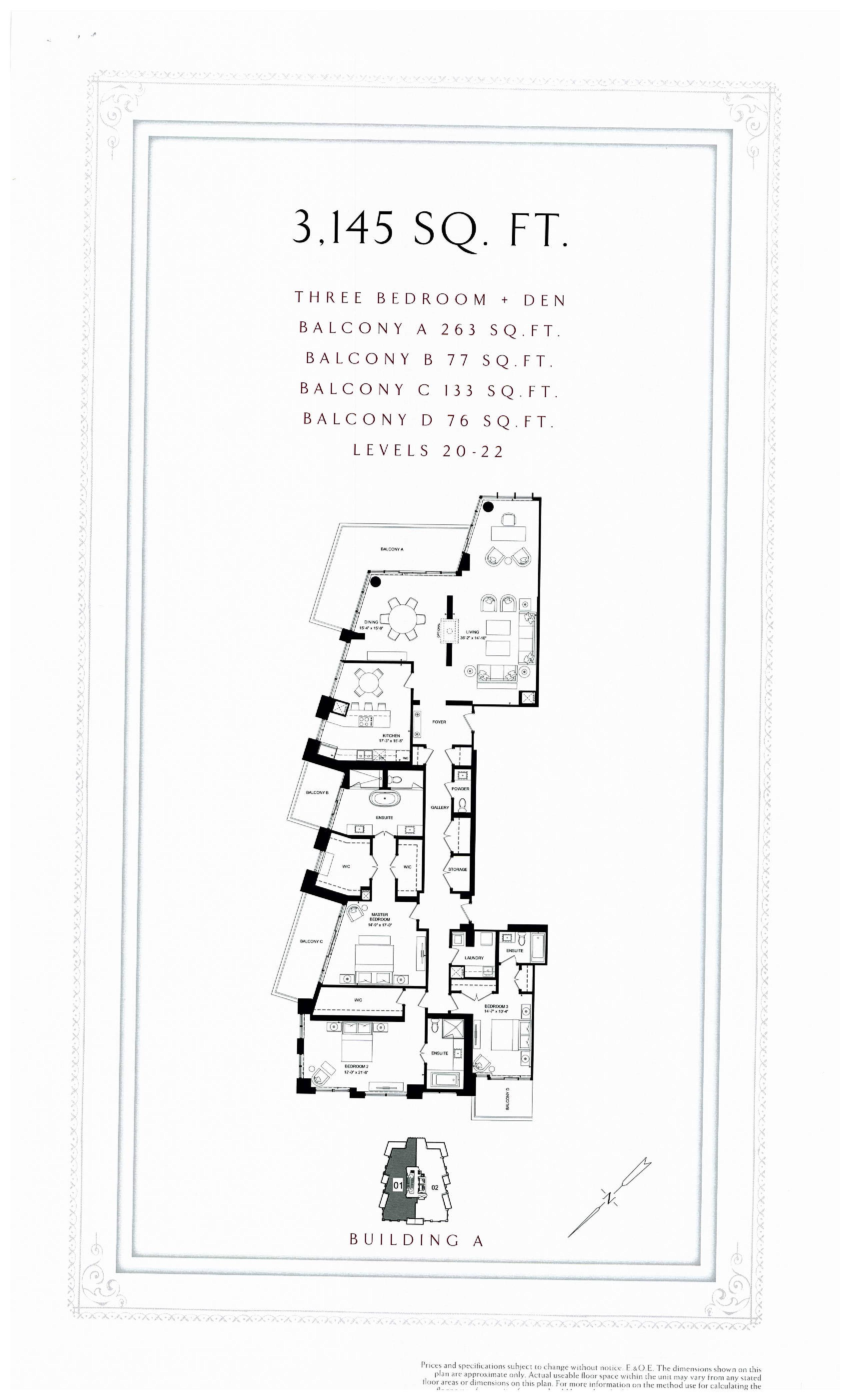 3145 sq. ft. Floor Plan at Bridgewater Residences on the Lake Condos - 3145 sq.ft