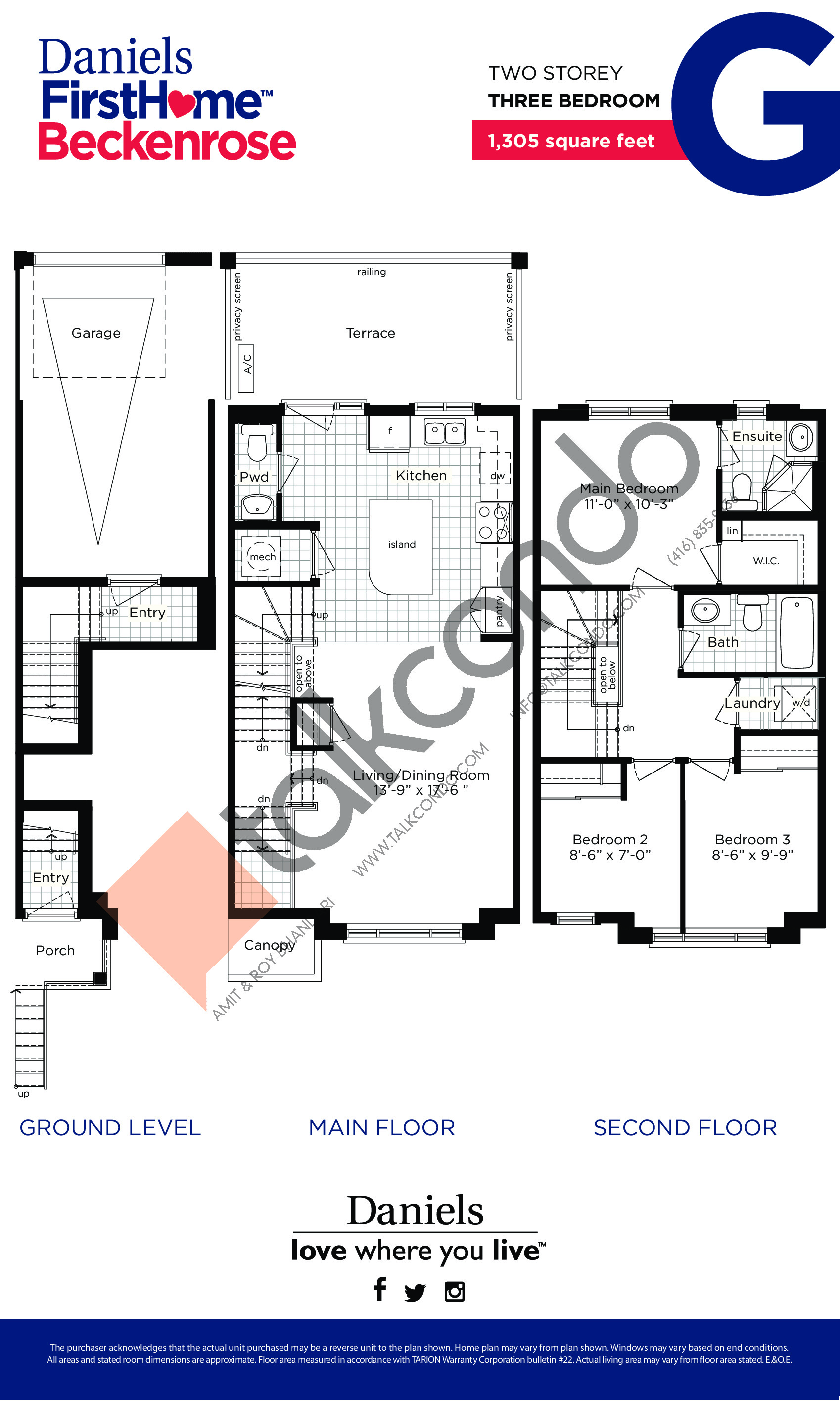 G Floor Plan at Daniels FirstHome™ Beckenrose - 1305 sq.ft