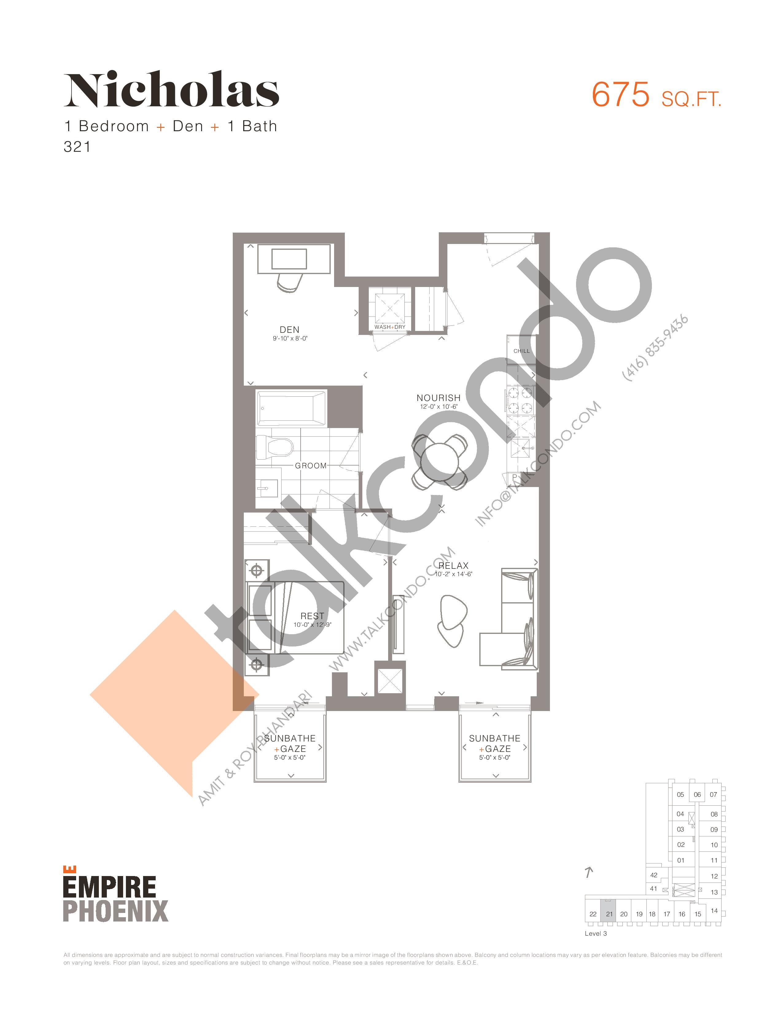 Nicholas Floor Plan at Empire Phoenix Condos - 675 sq.ft