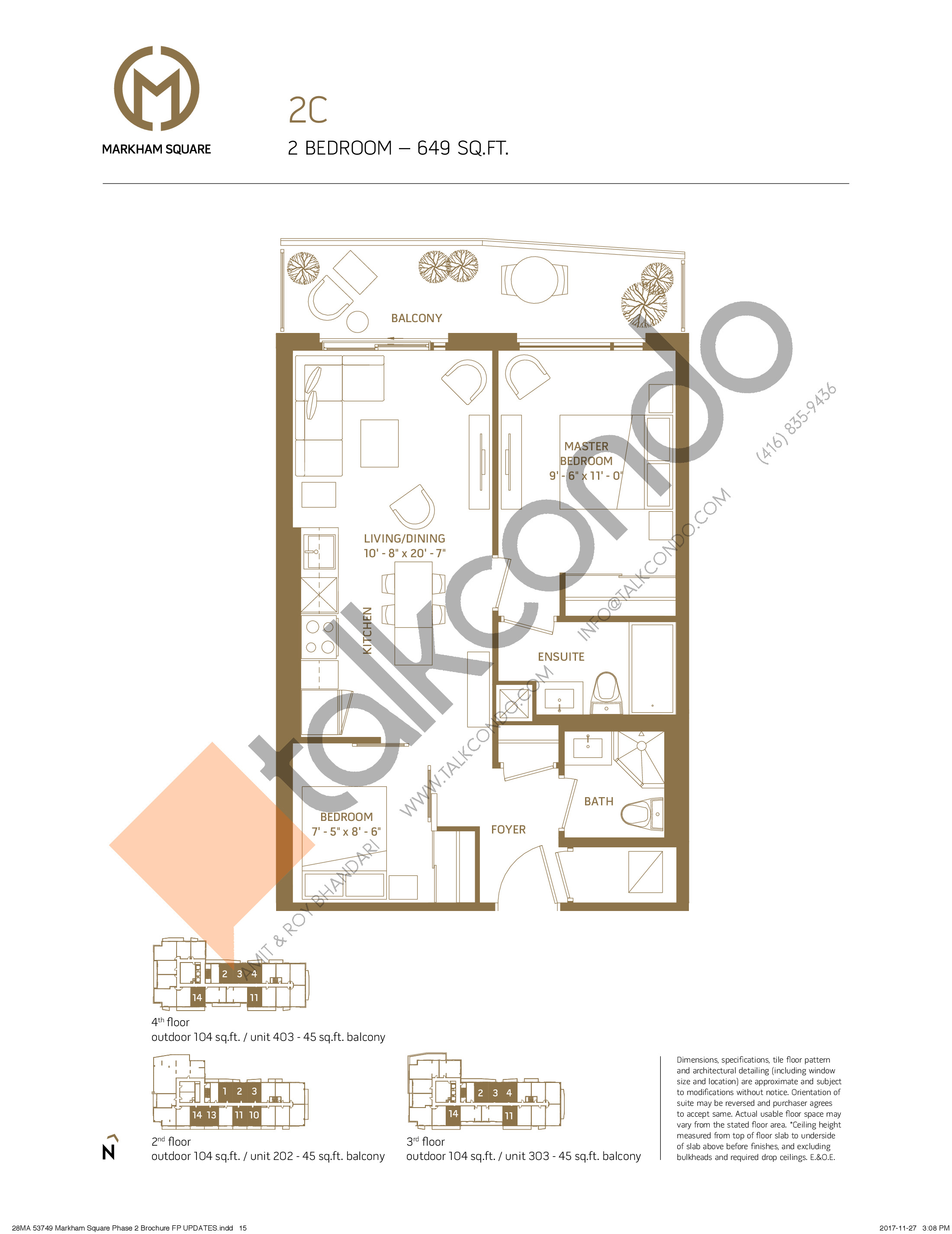 2C - East Tower Floor Plan at Markham Square Condos - 649 sq.ft