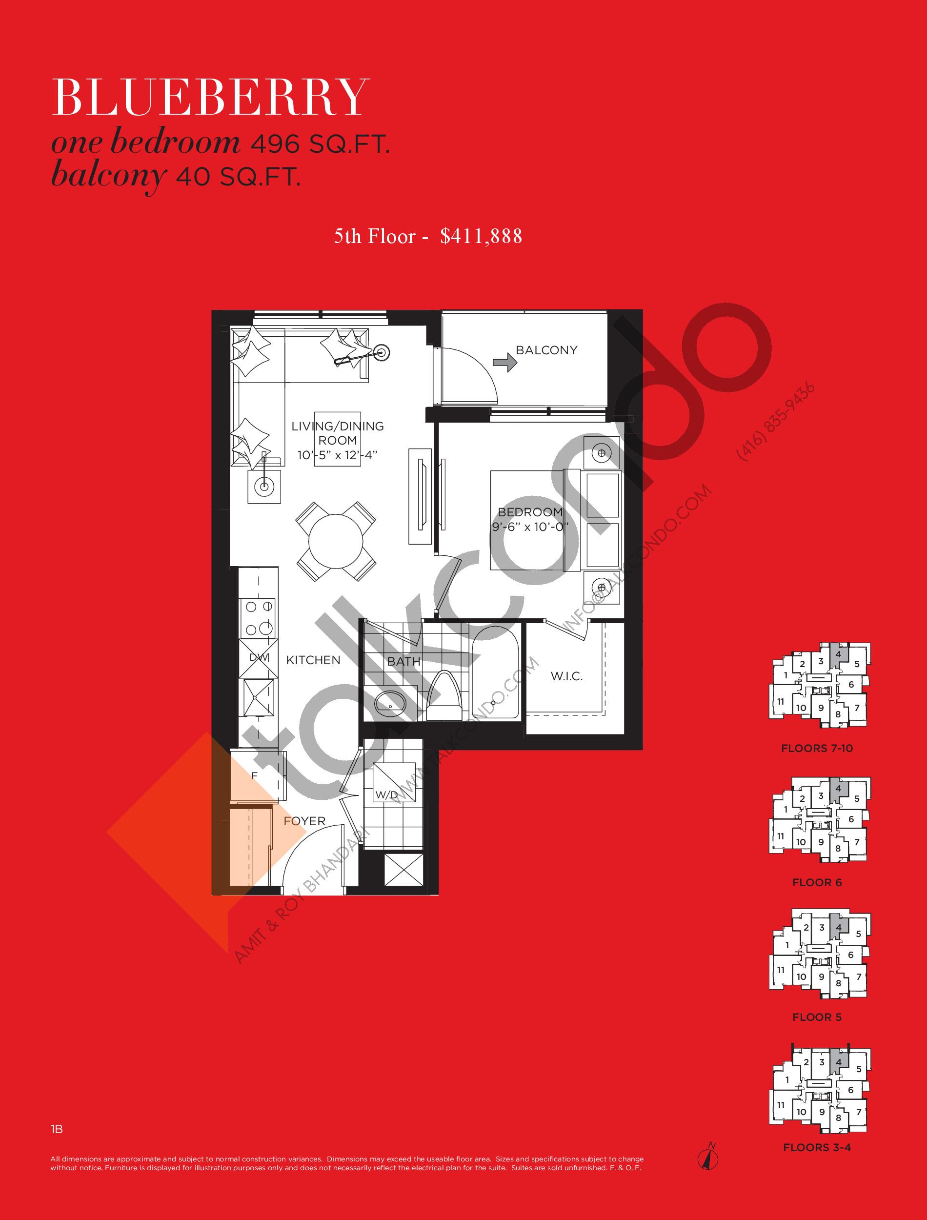 Blueberry Floor Plan at Tea Garden Condos - 496 sq.ft