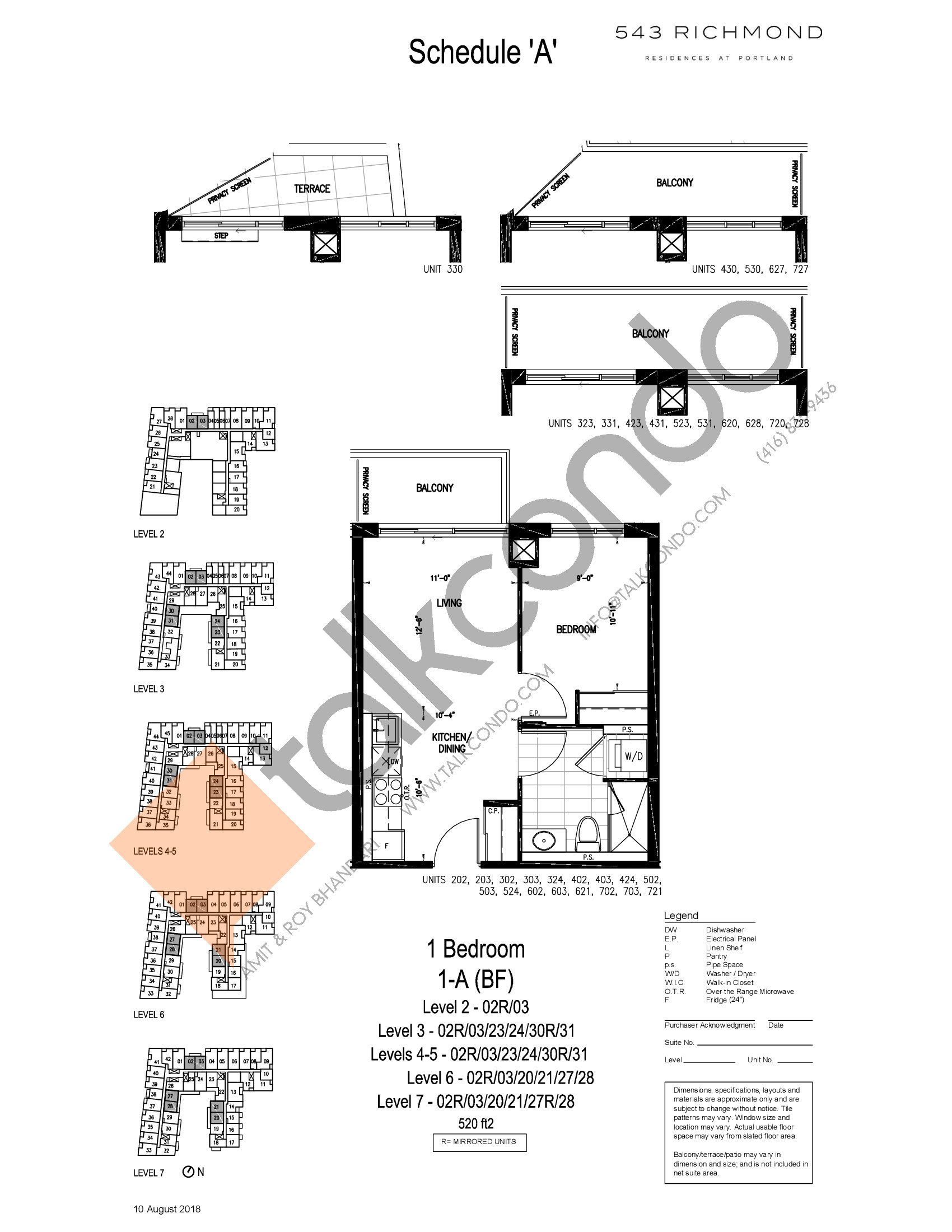 1-A (BF) Floor Plan at 543 Richmond St Condos - 520 sq.ft