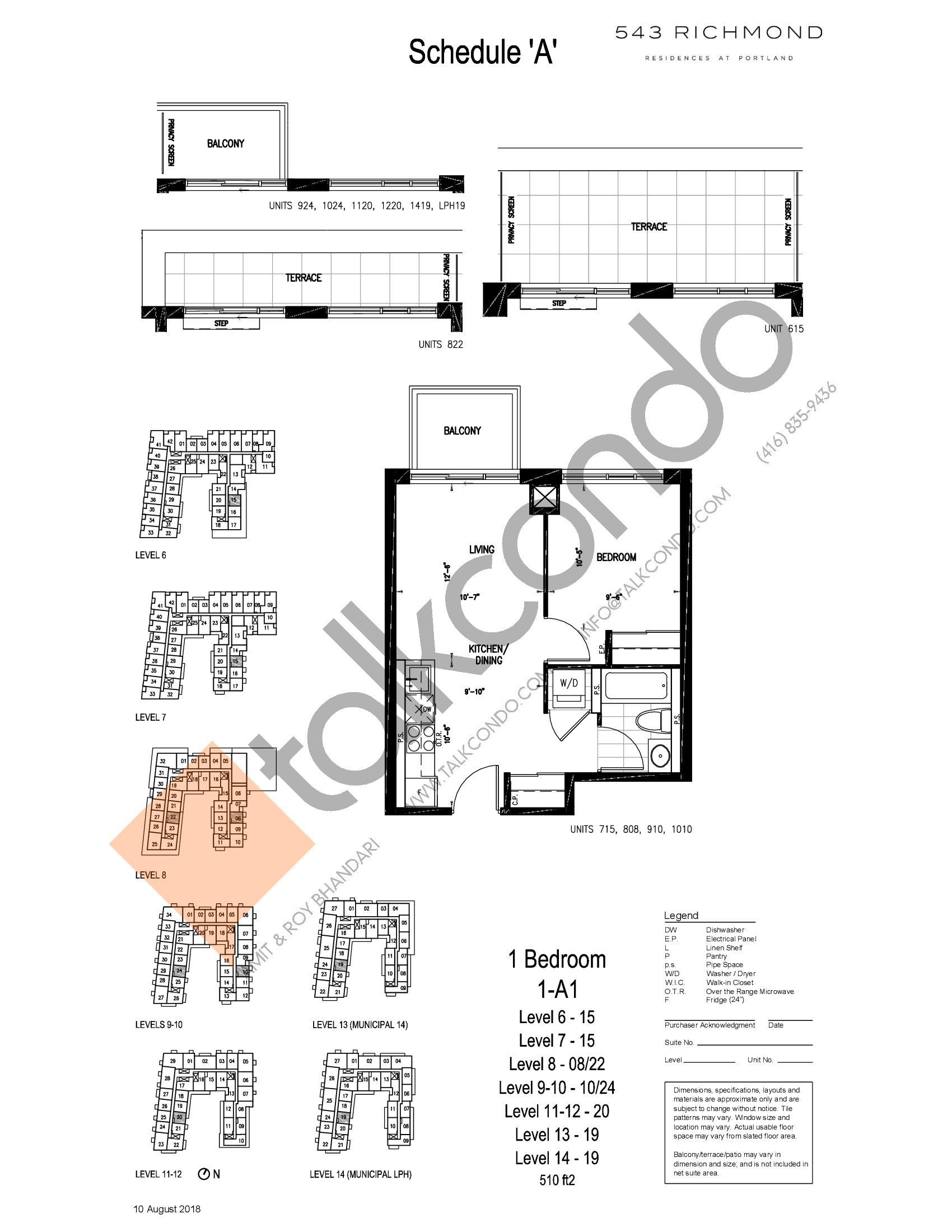 1-A1 Floor Plan at 543 Richmond St Condos - 510 sq.ft