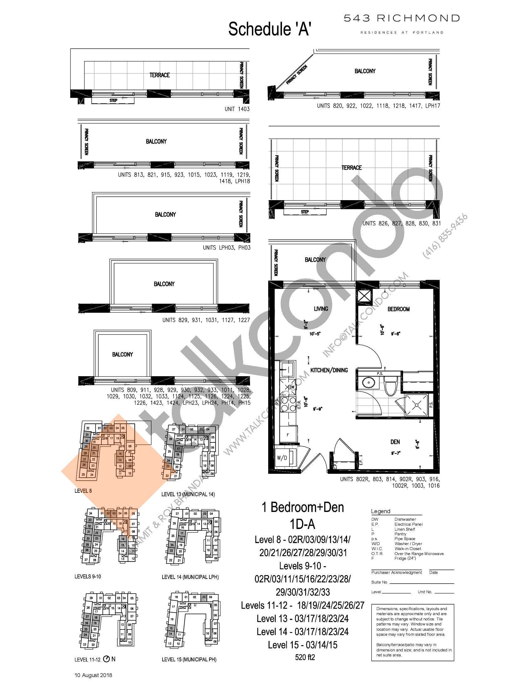 1D-A Floor Plan at 543 Richmond St Condos - 520 sq.ft