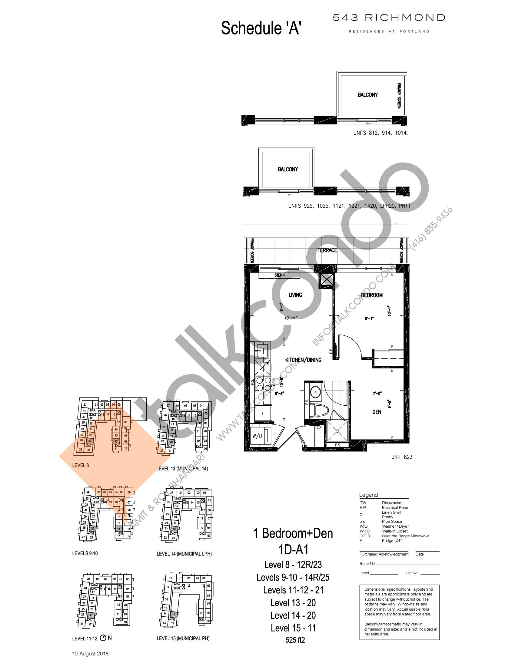 1D-A1 Floor Plan at 543 Richmond St Condos - 525 sq.ft