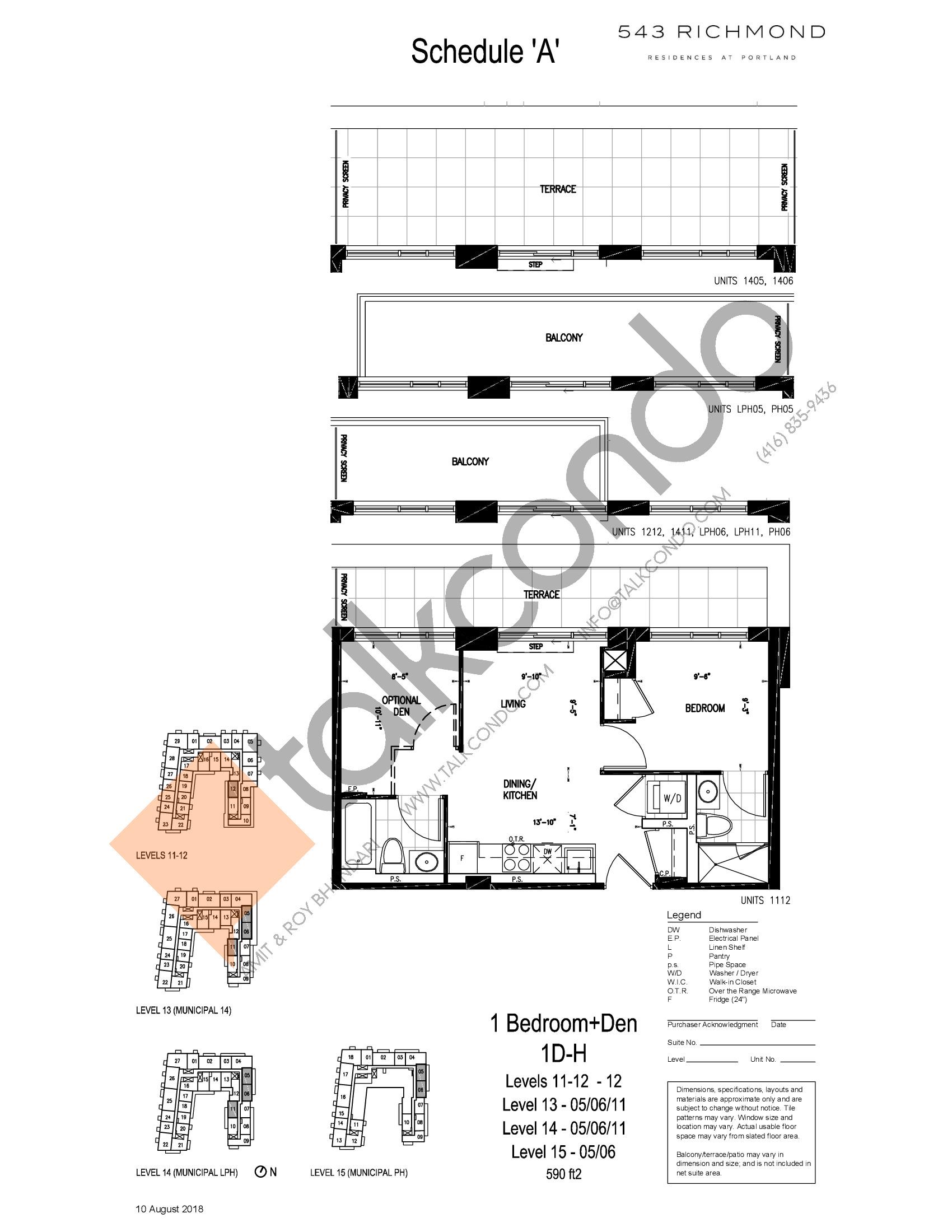 1D-H Floor Plan at 543 Richmond St Condos - 590 sq.ft