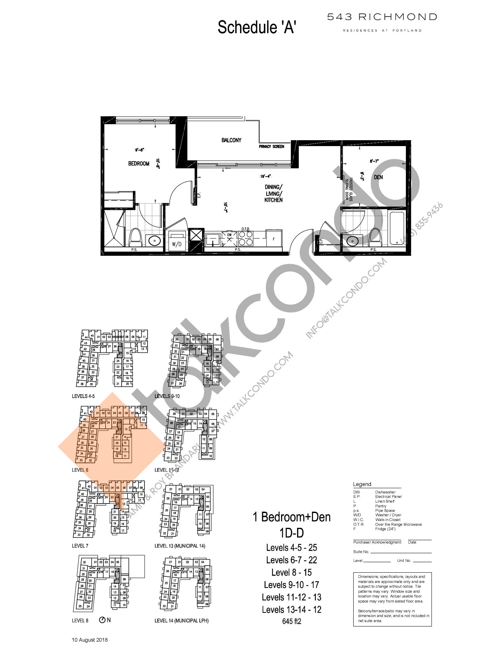 1D-D Floor Plan at 543 Richmond St Condos - 645 sq.ft