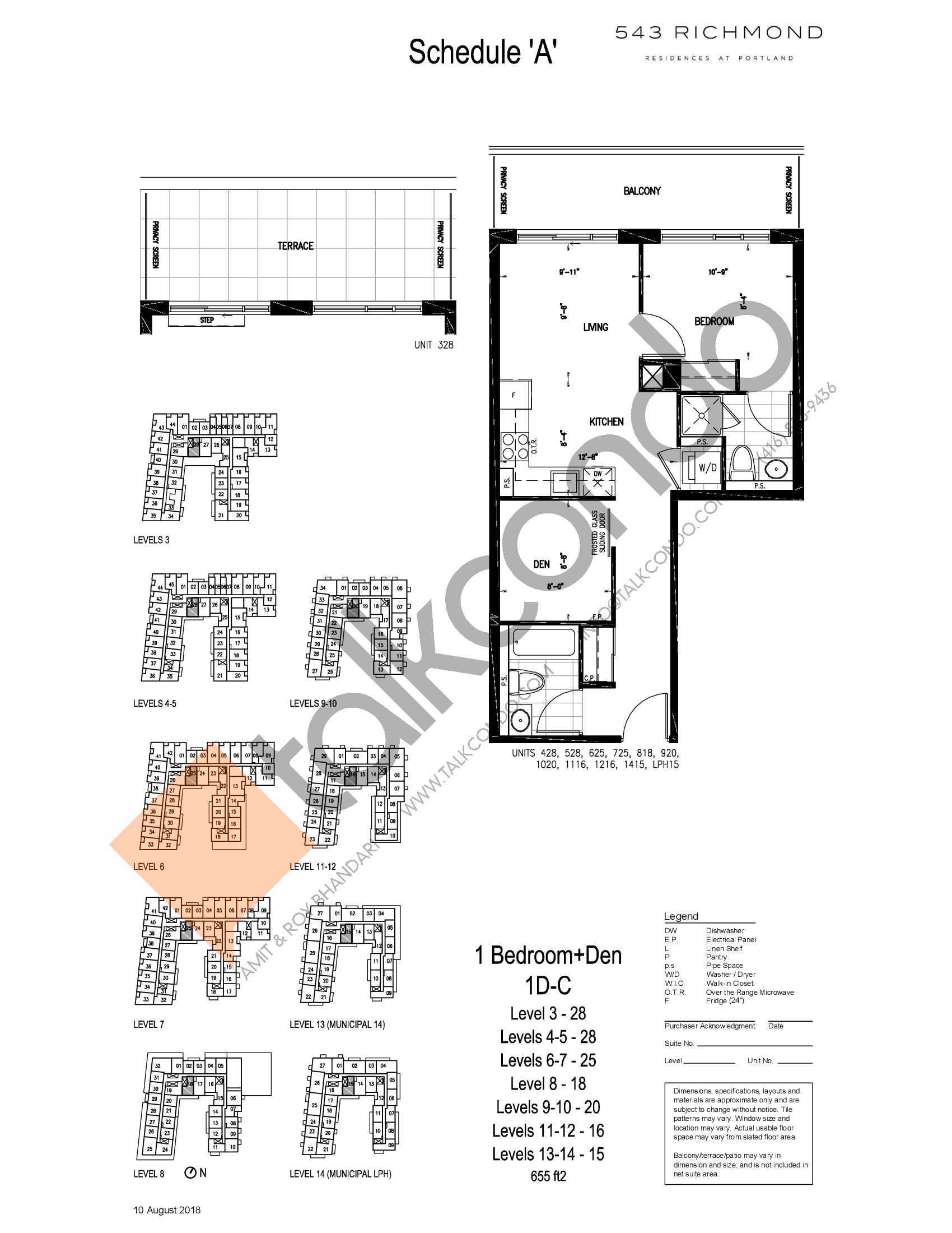 1D-C Floor Plan at 543 Richmond St Condos - 655 sq.ft