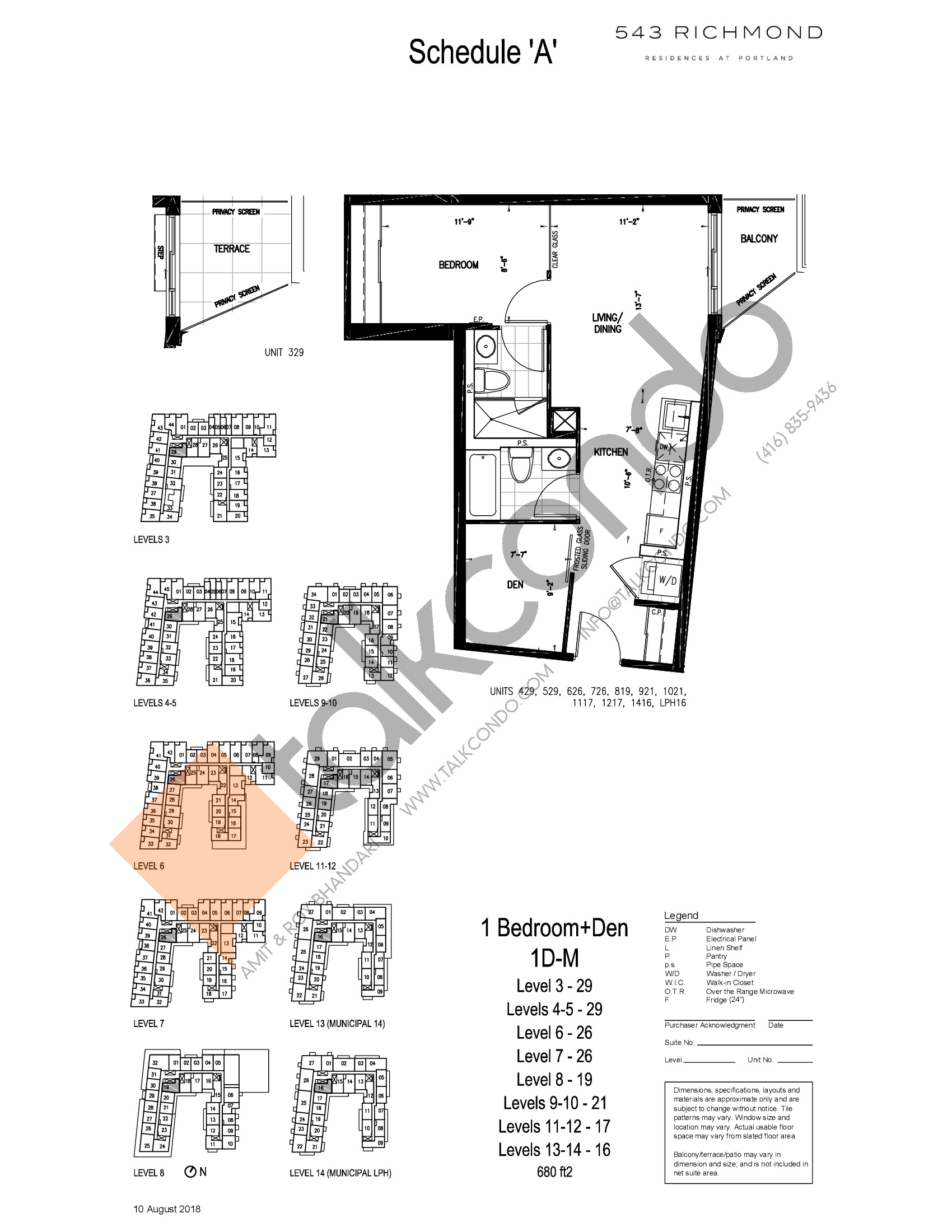 1D-M Floor Plan at 543 Richmond St Condos - 680 sq.ft