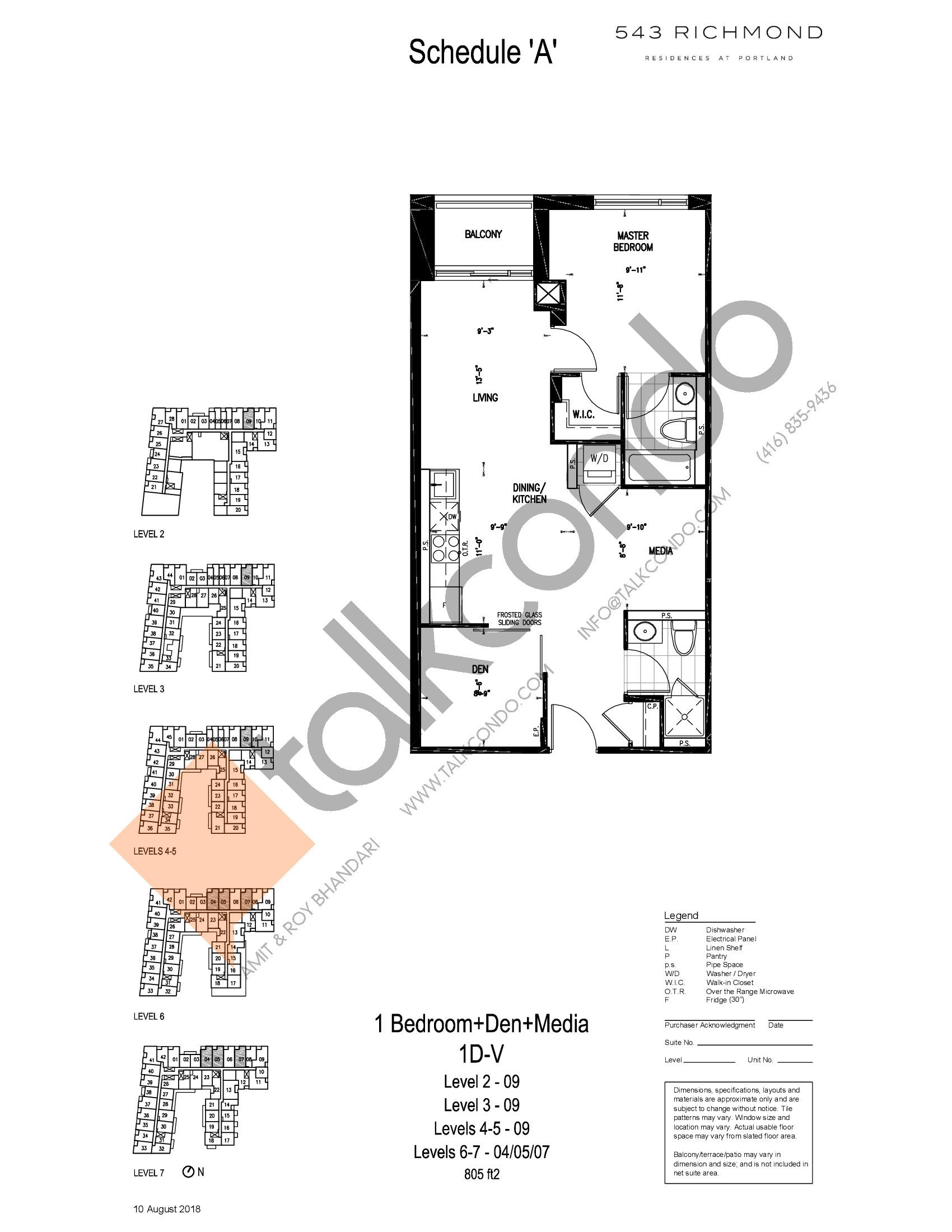 1D-V Floor Plan at 543 Richmond St Condos - 805 sq.ft