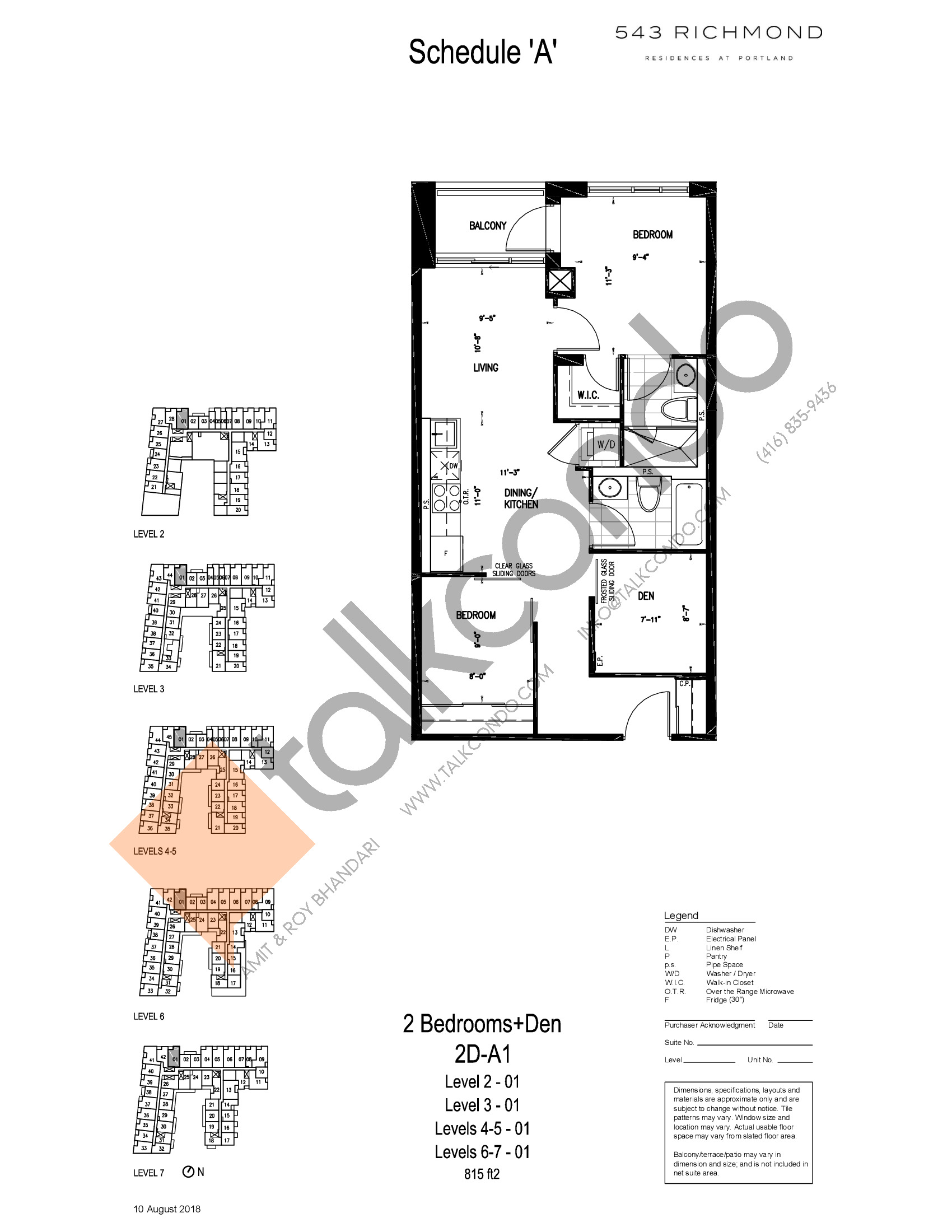 2D-A1 Floor Plan at 543 Richmond St Condos - 815 sq.ft