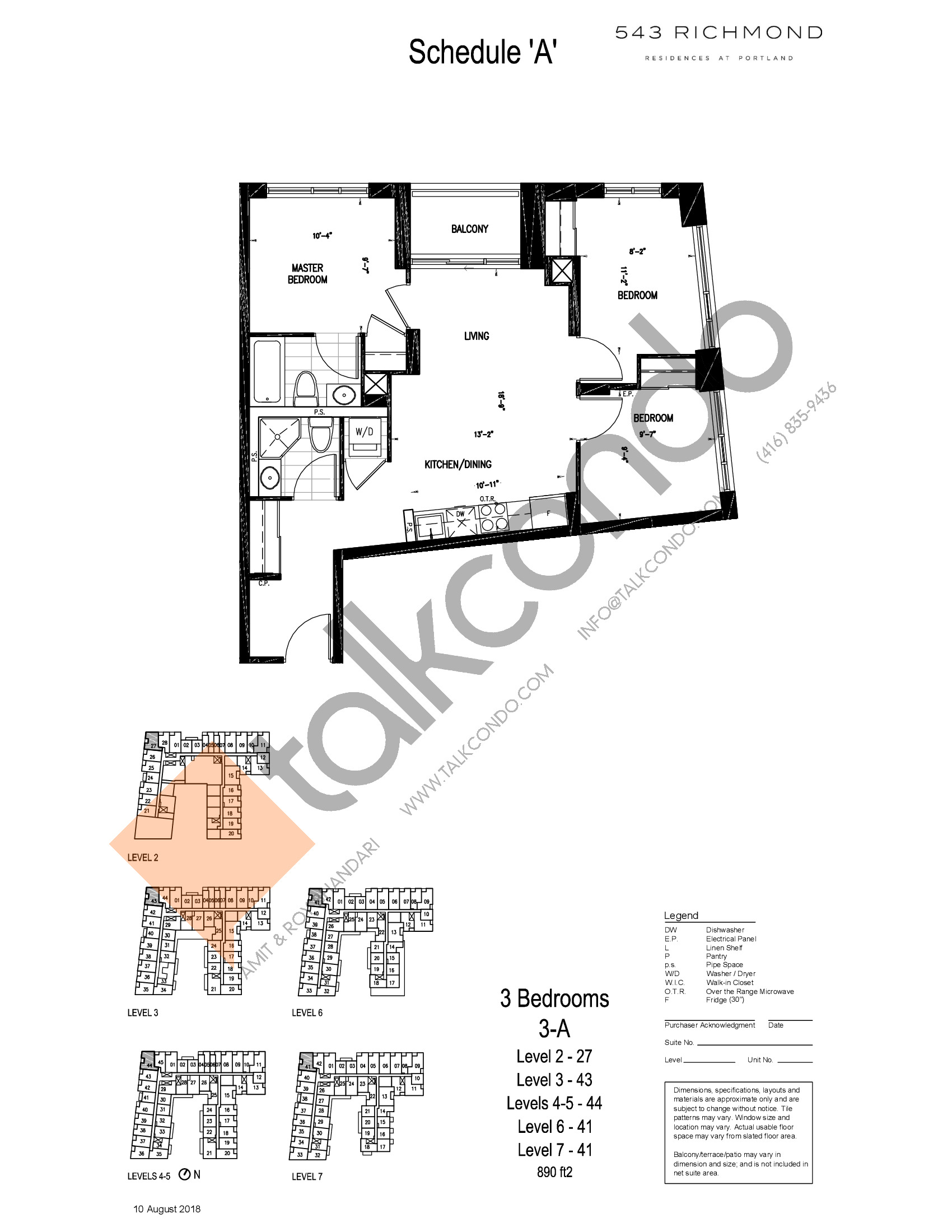 3-A Floor Plan at 543 Richmond St Condos - 890 sq.ft
