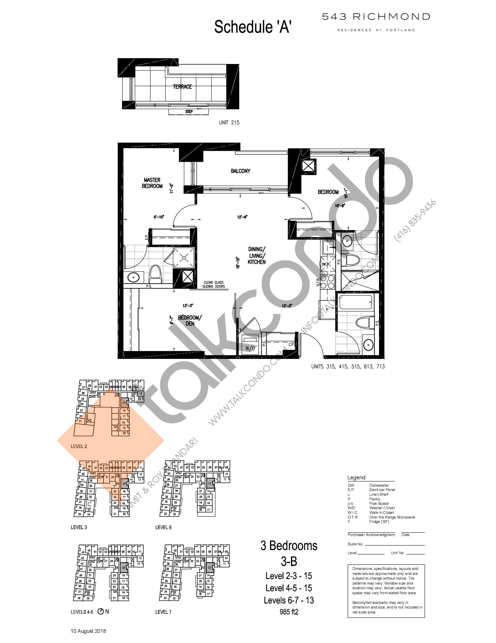 3-B Floor Plan at 543 Richmond St Condos - 985 sq.ft