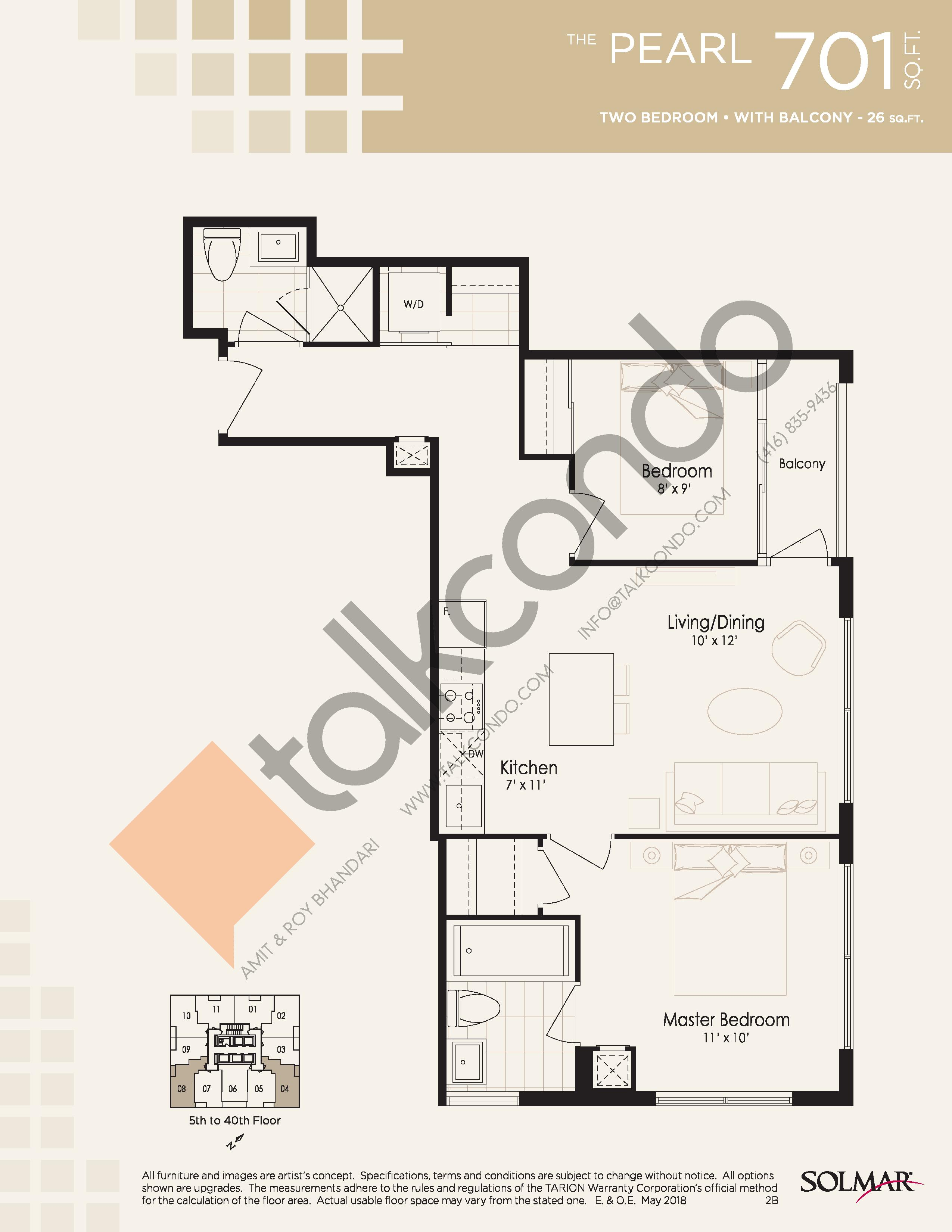 The Pearl Floor Plan at Edge Tower 2 Condos - 701 sq.ft