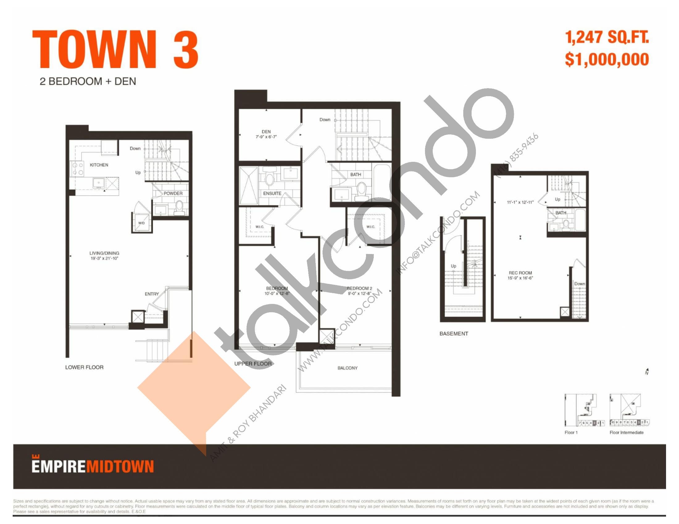 Town 3 Floor Plan at Empire Midtown Condos - 1247 sq.ft