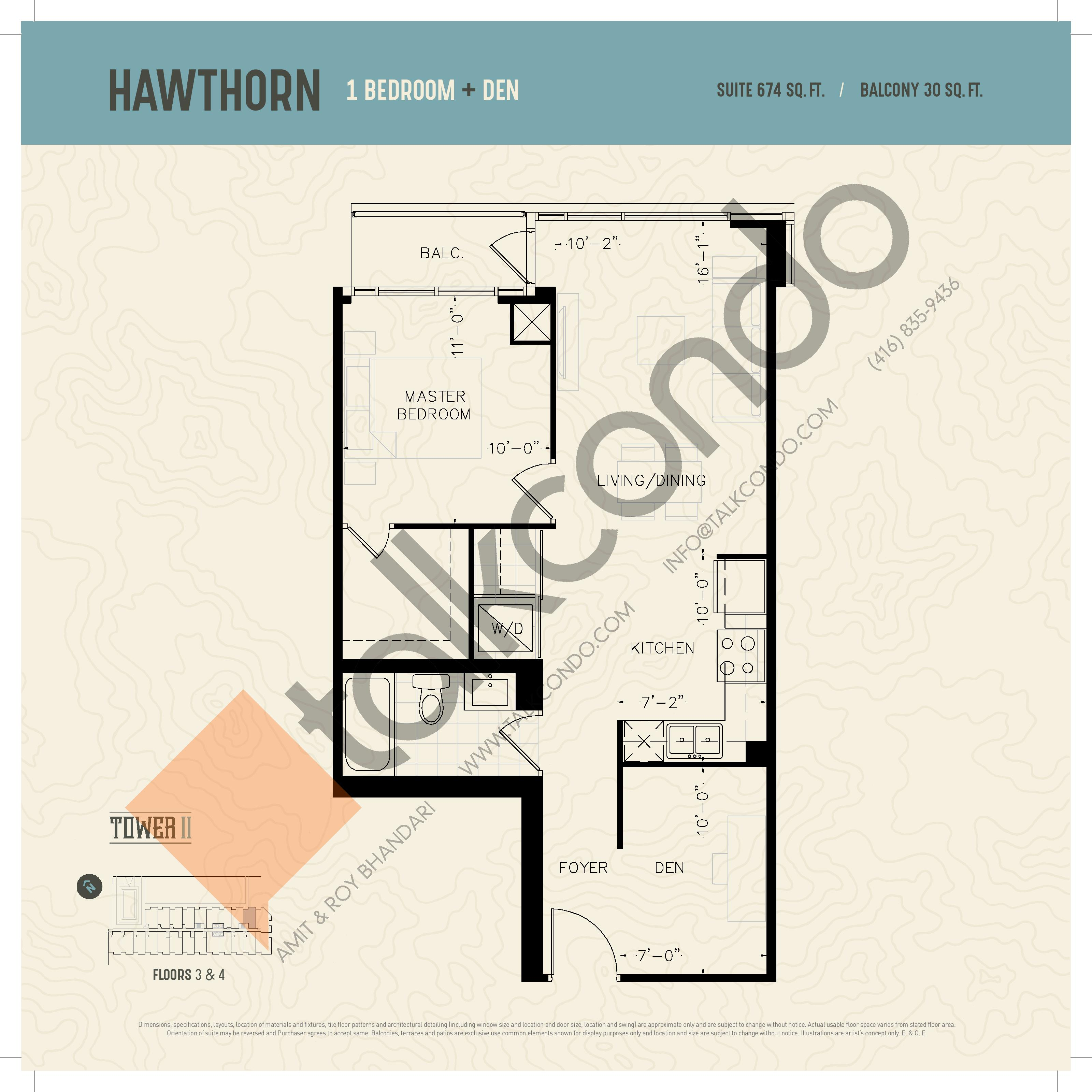 Hawthorn (Podium) Floor Plan at Oak & Co. 2 Condos - 674 sq.ft