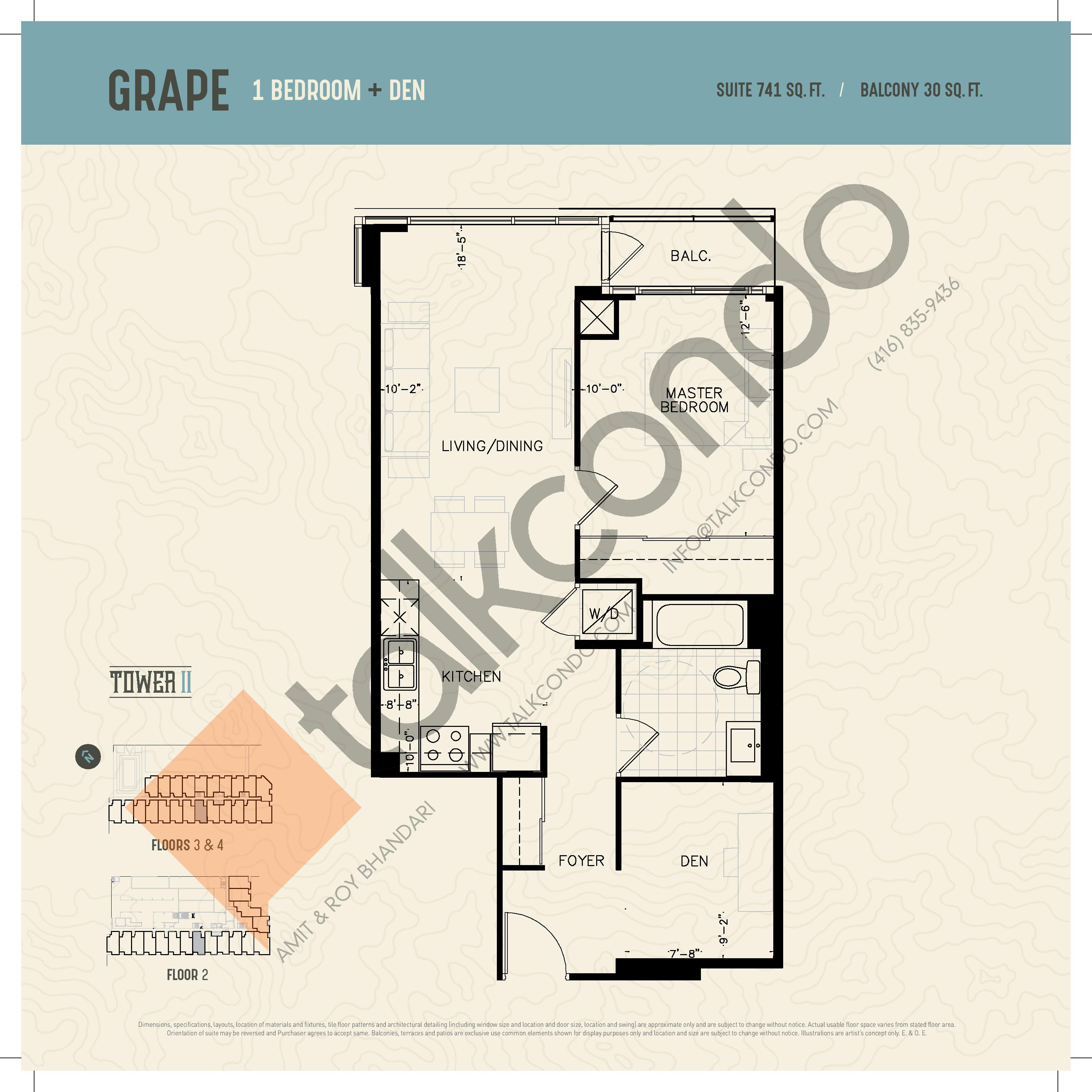 Grape (Podium) Floor Plan at Oak & Co. 2 Condos - 741 sq.ft
