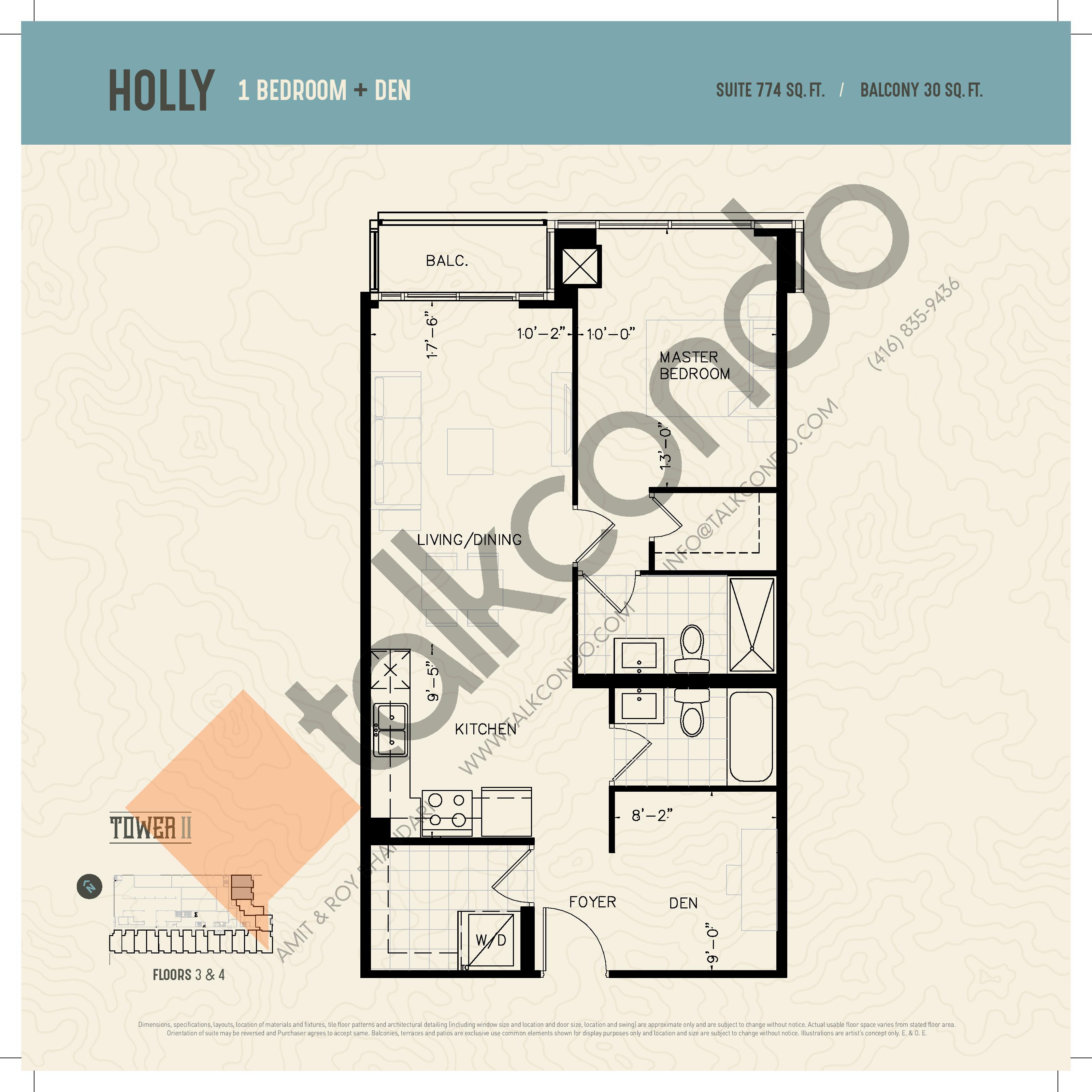 Holly (Podium) Floor Plan at Oak & Co. 2 Condos - 774 sq.ft
