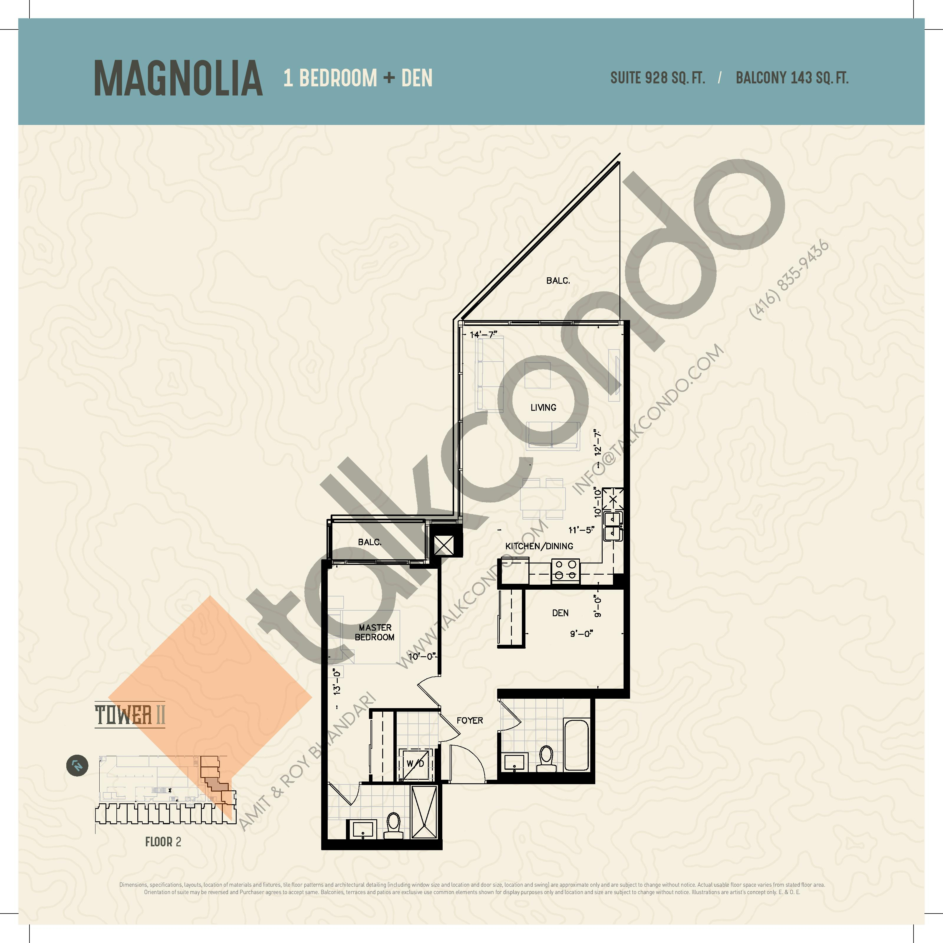Magnolia (Podium) Floor Plan at Oak & Co. 2 Condos - 928 sq.ft