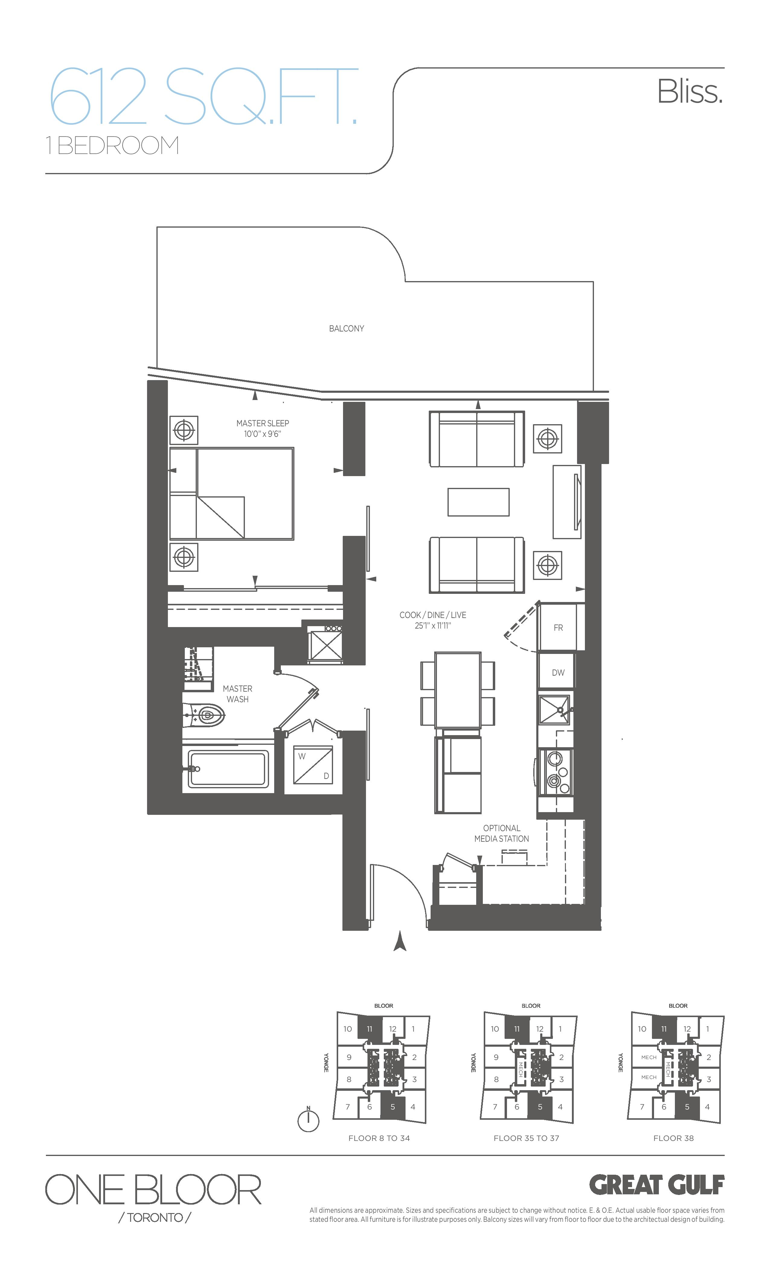 Bliss Floor Plan at One Bloor Condos - 612 sq.ft