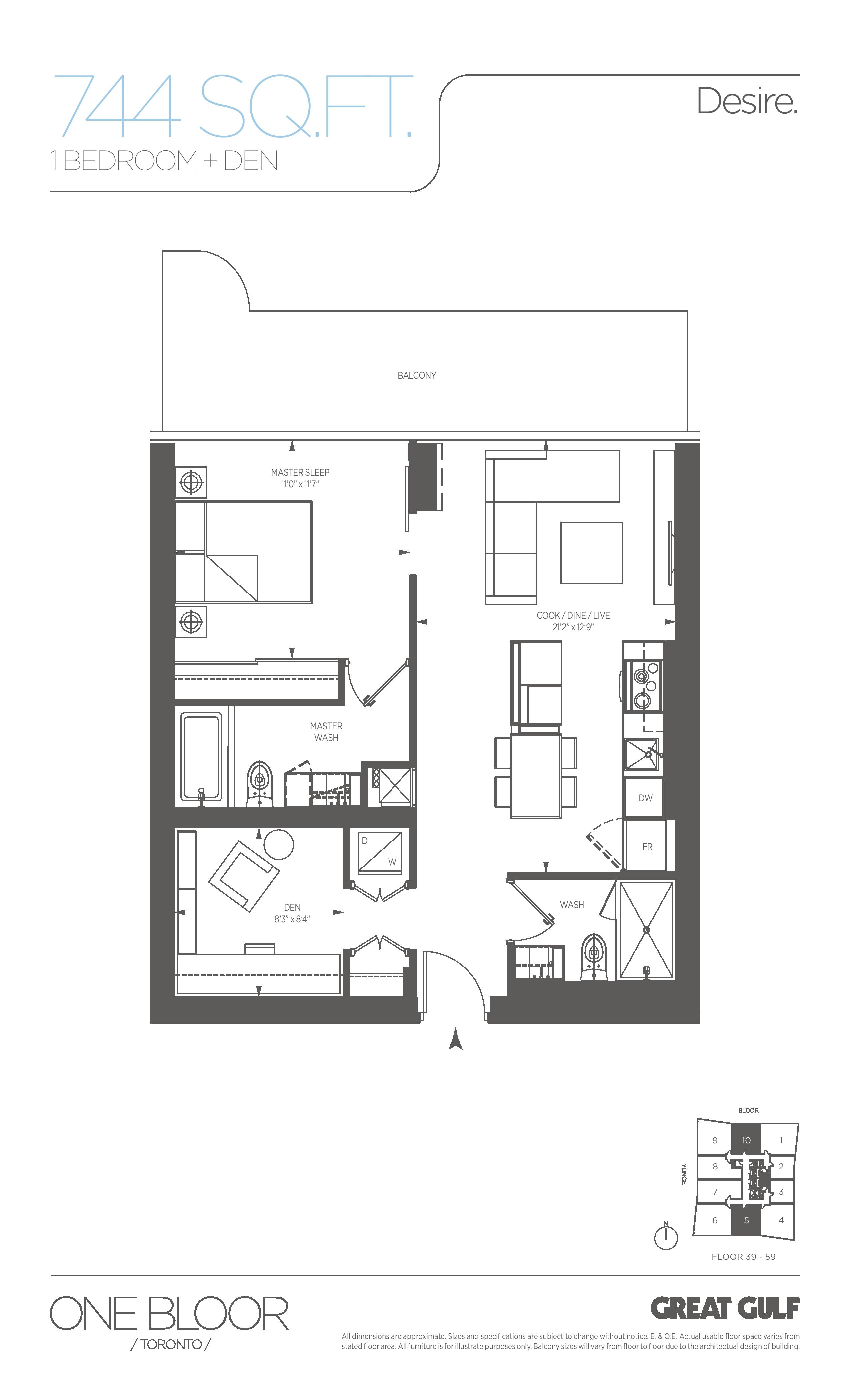 Desire Floor Plan at One Bloor Condos - 744 sq.ft