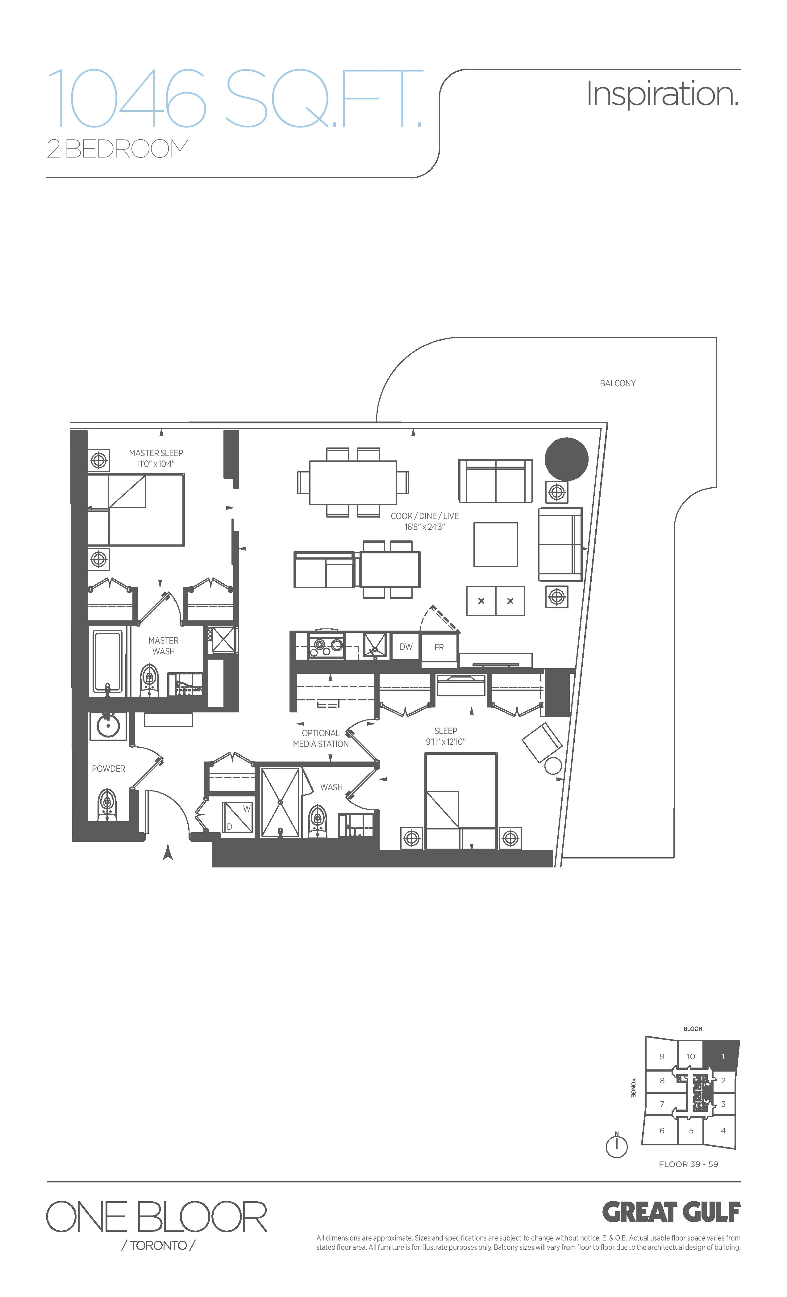 Inspiration Floor Plan at One Bloor Condos - 1046 sq.ft