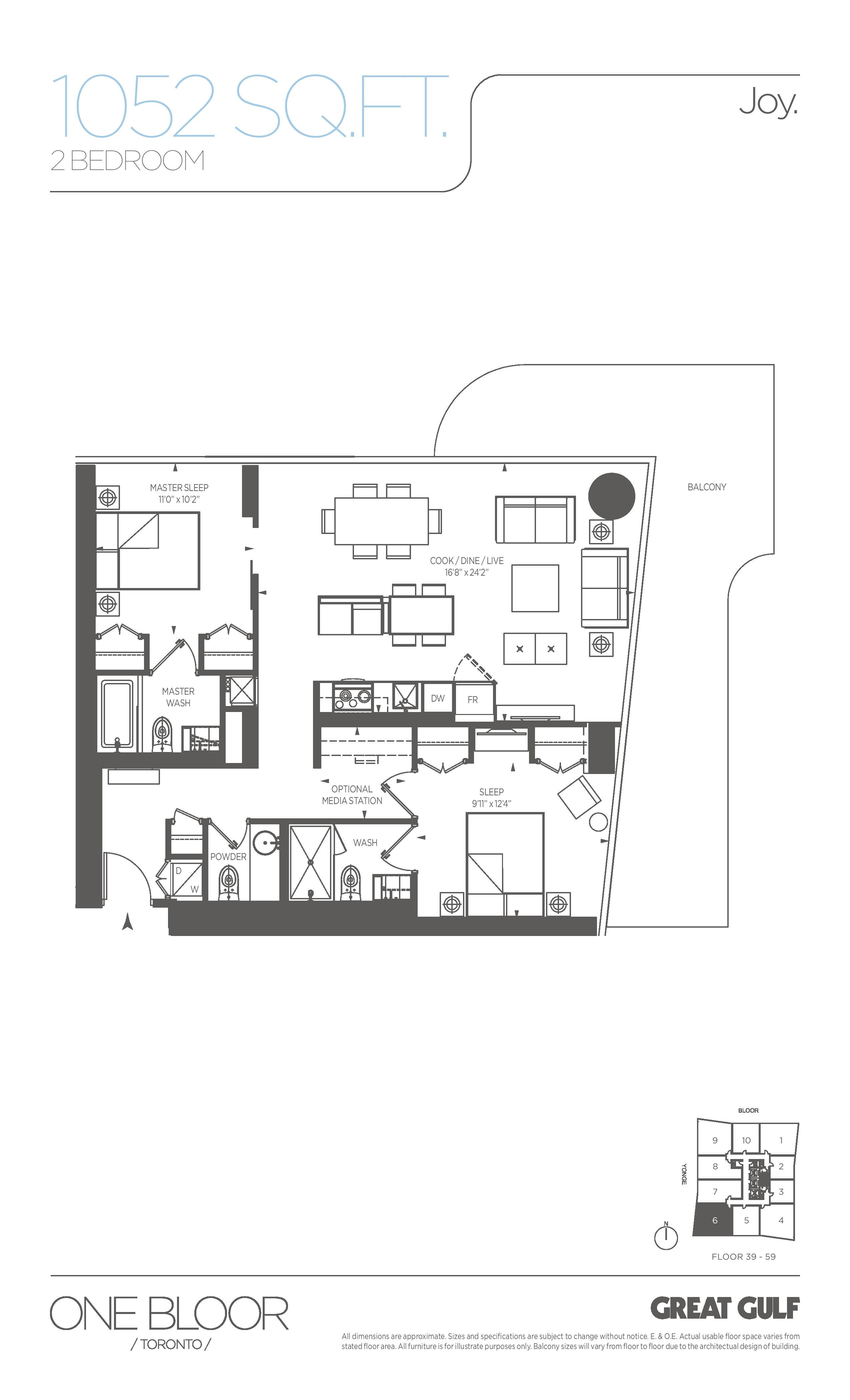 Joy Floor Plan at One Bloor Condos - 1052 sq.ft