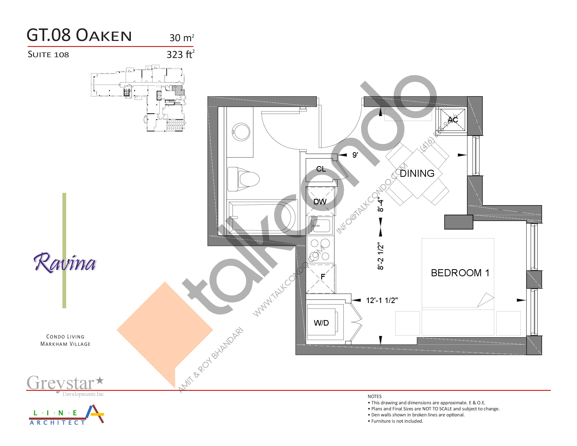 Oaken Floor Plan at Ravina Condos - 323 sq.ft