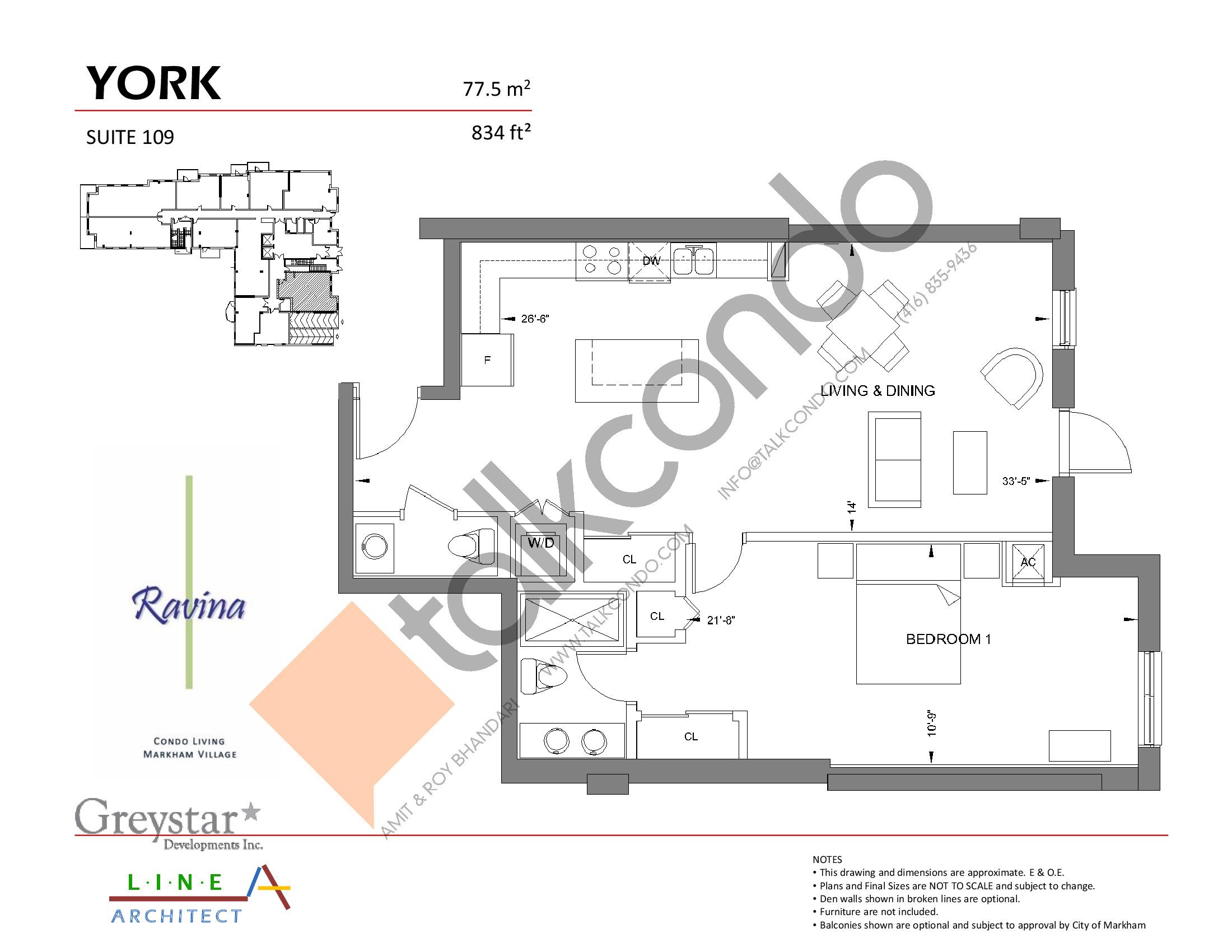 York Floor Plan at Ravina Condos - 834 sq.ft