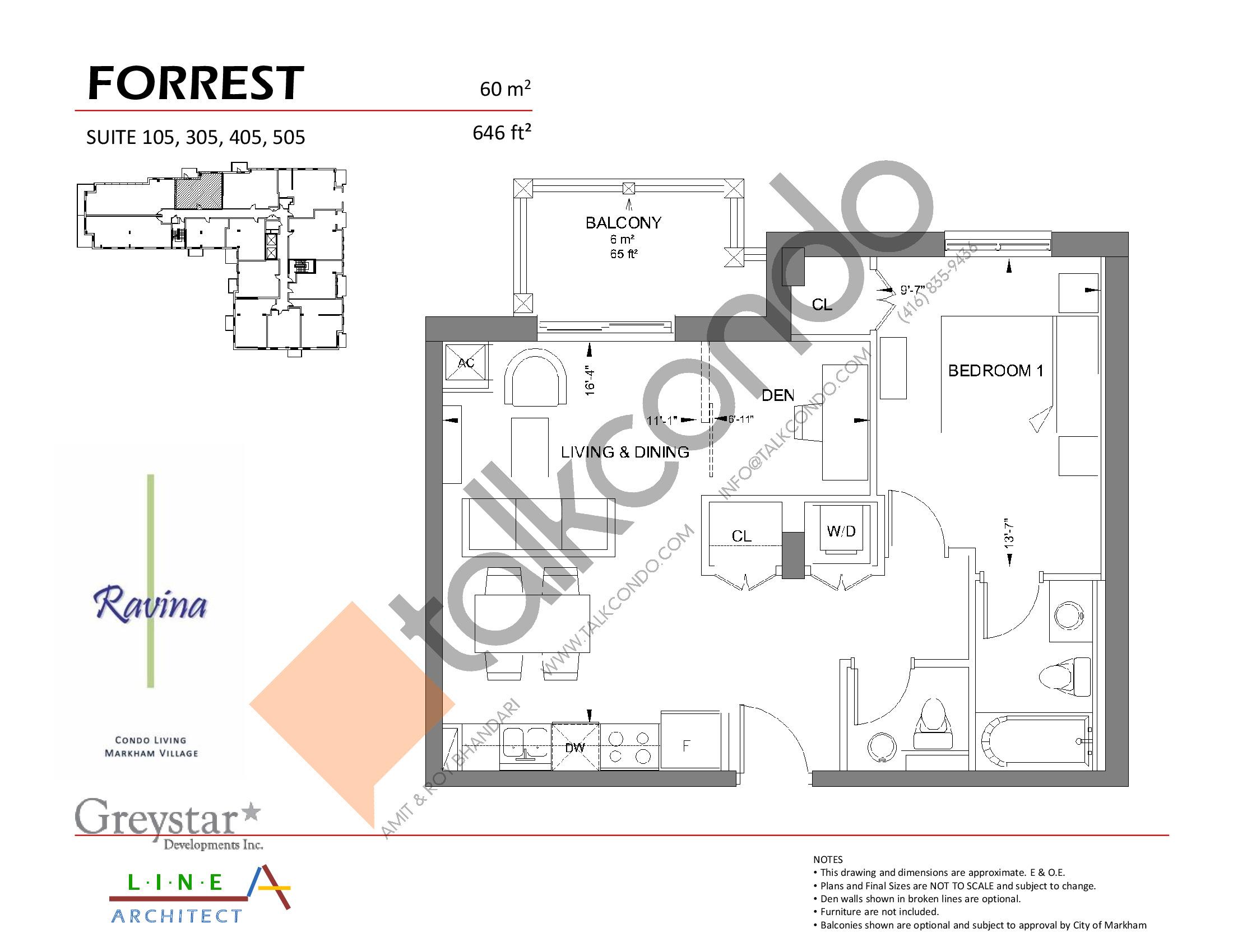 Forrest Floor Plan at Ravina Condos - 646 sq.ft