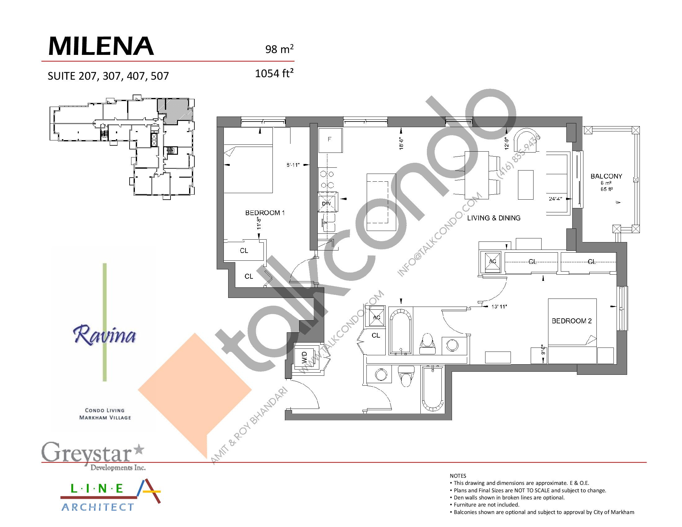 Milena Floor Plan at Ravina Condos - 1054 sq.ft
