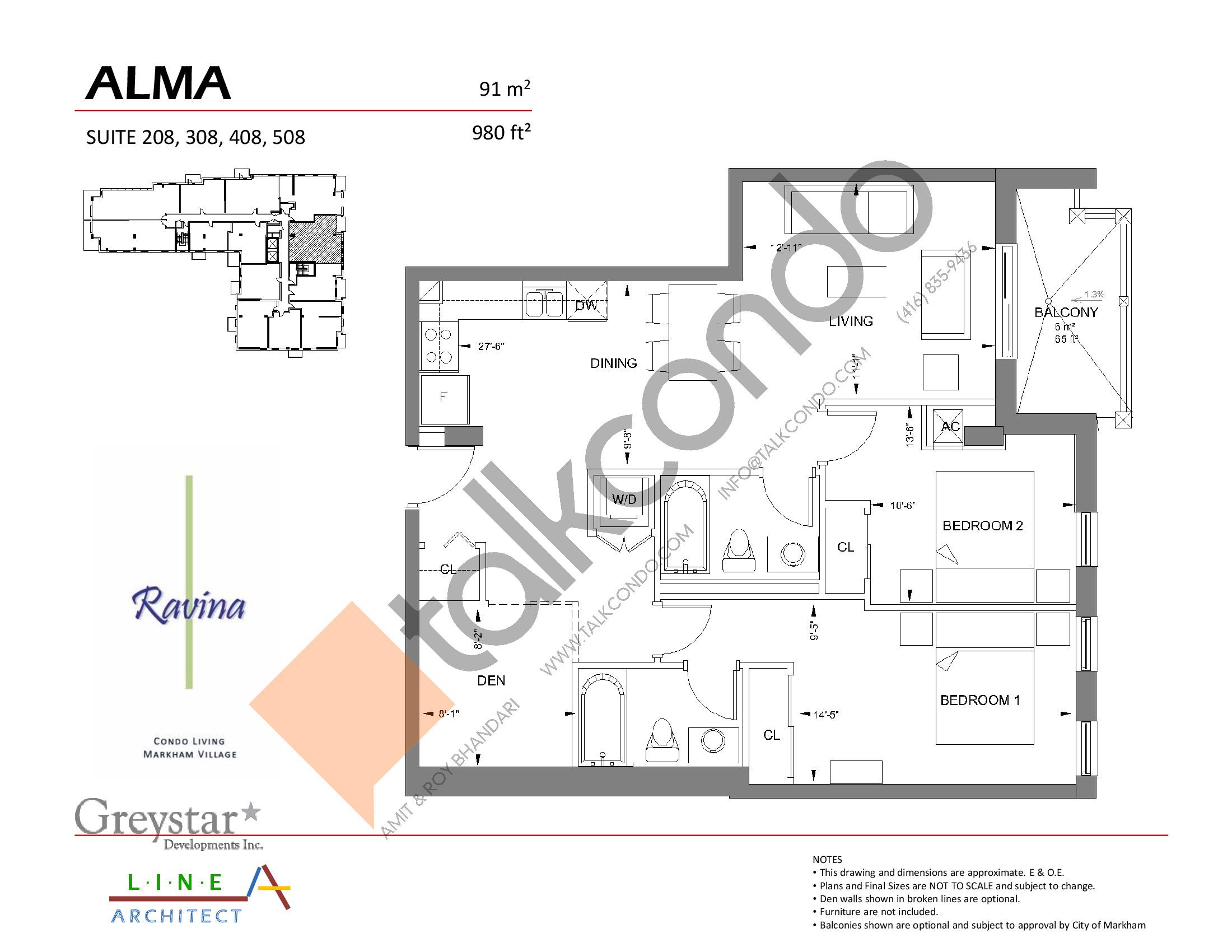 Alma Floor Plan at Ravina Condos - 980 sq.ft