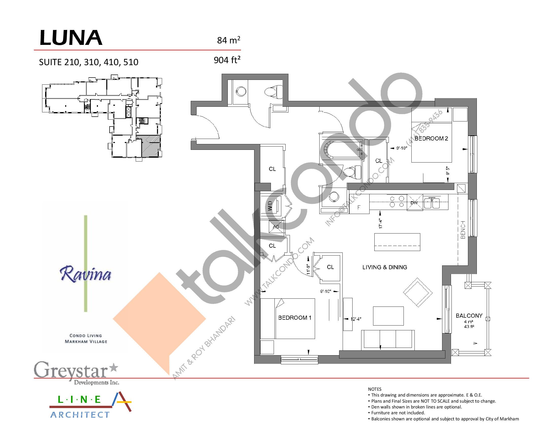 Luna Floor Plan at Ravina Condos - 904 sq.ft