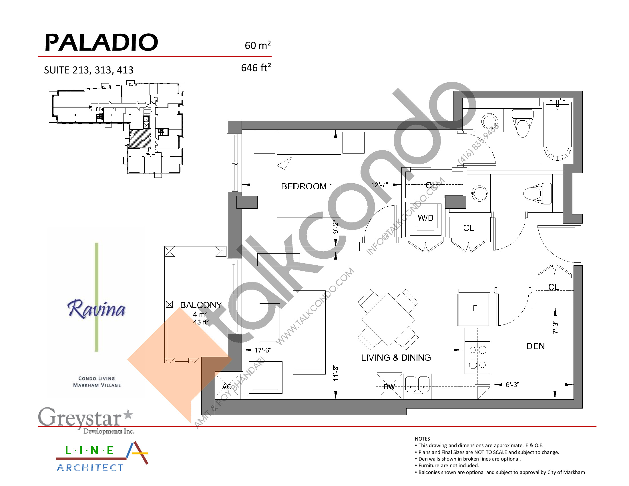 Paladio Floor Plan at Ravina Condos - 646 sq.ft