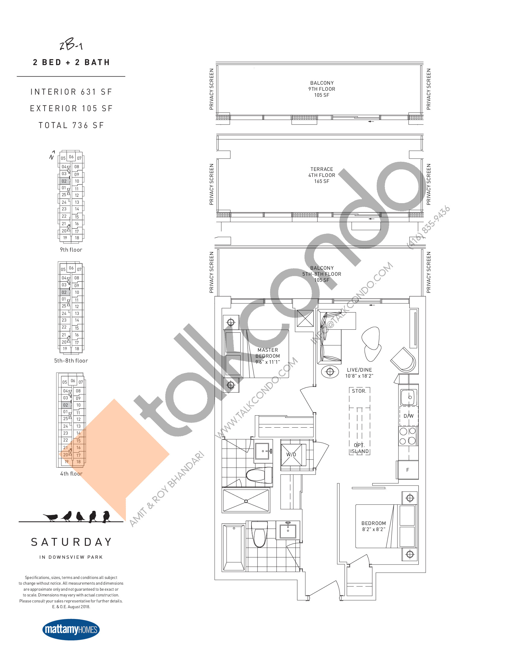 2B-1 Floor Plan at Saturday in Downsview Park Condos - 631 sq.ft