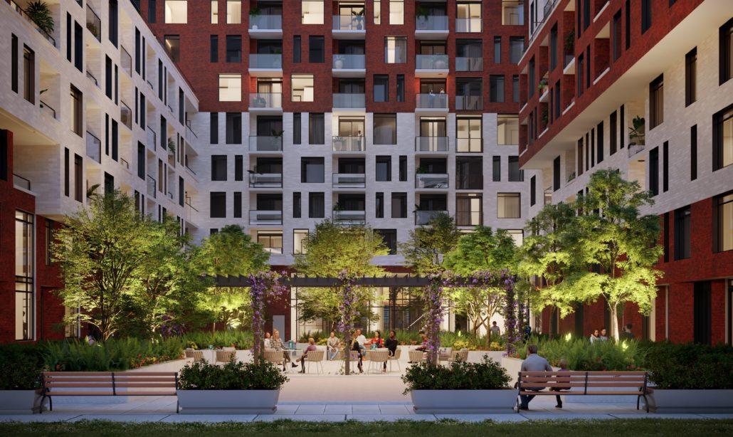 The Keeley Condos Courtyard