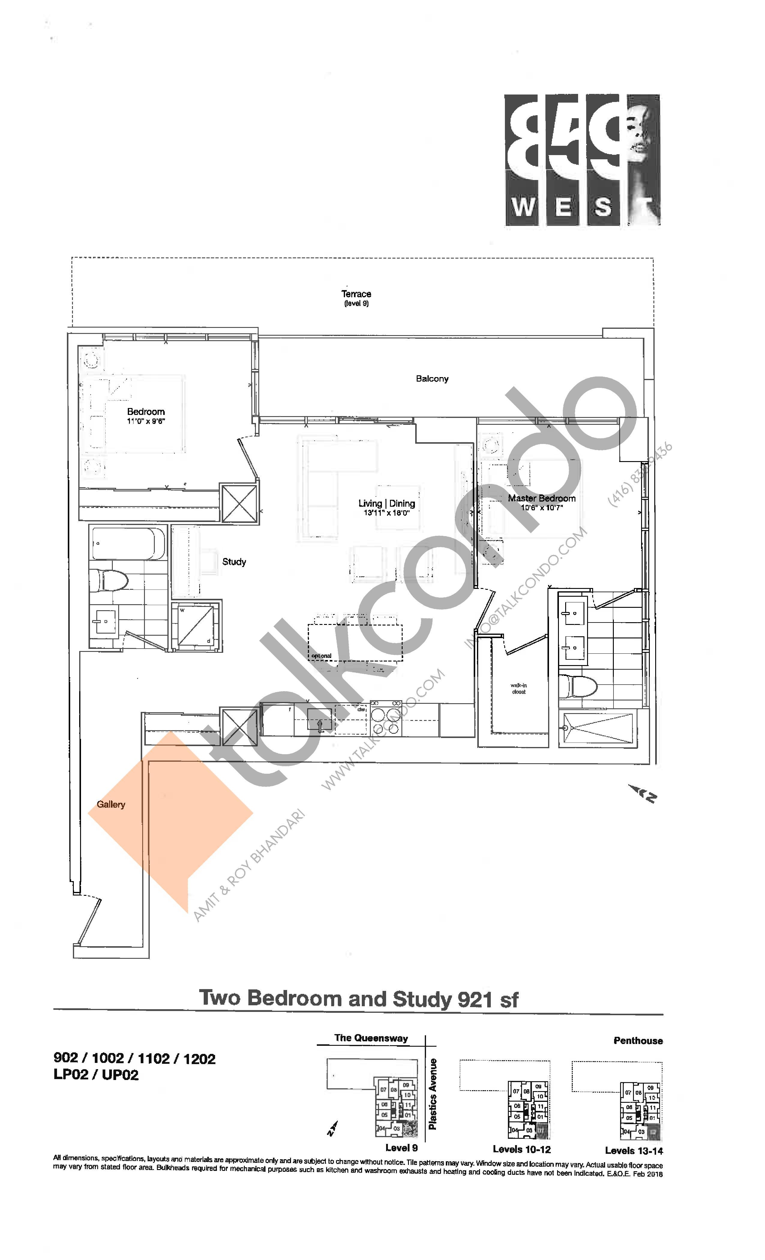 921 sf Floor Plan at 859 West Condos - 921 sq.ft