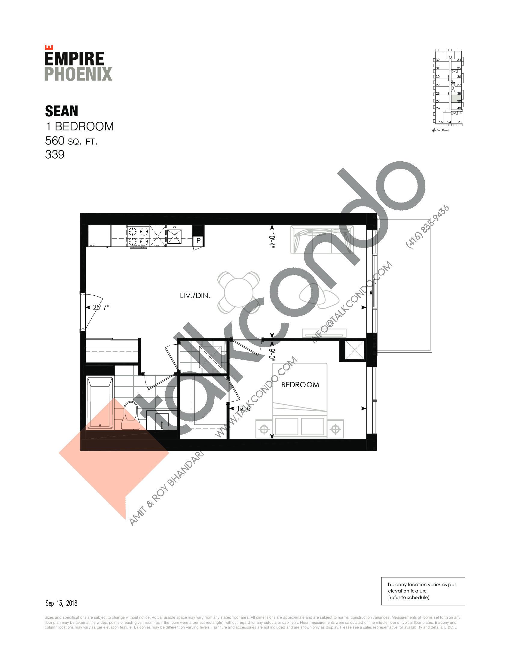 Sean Floor Plan at Empire Phoenix Phase 2 Condos - 560 sq.ft