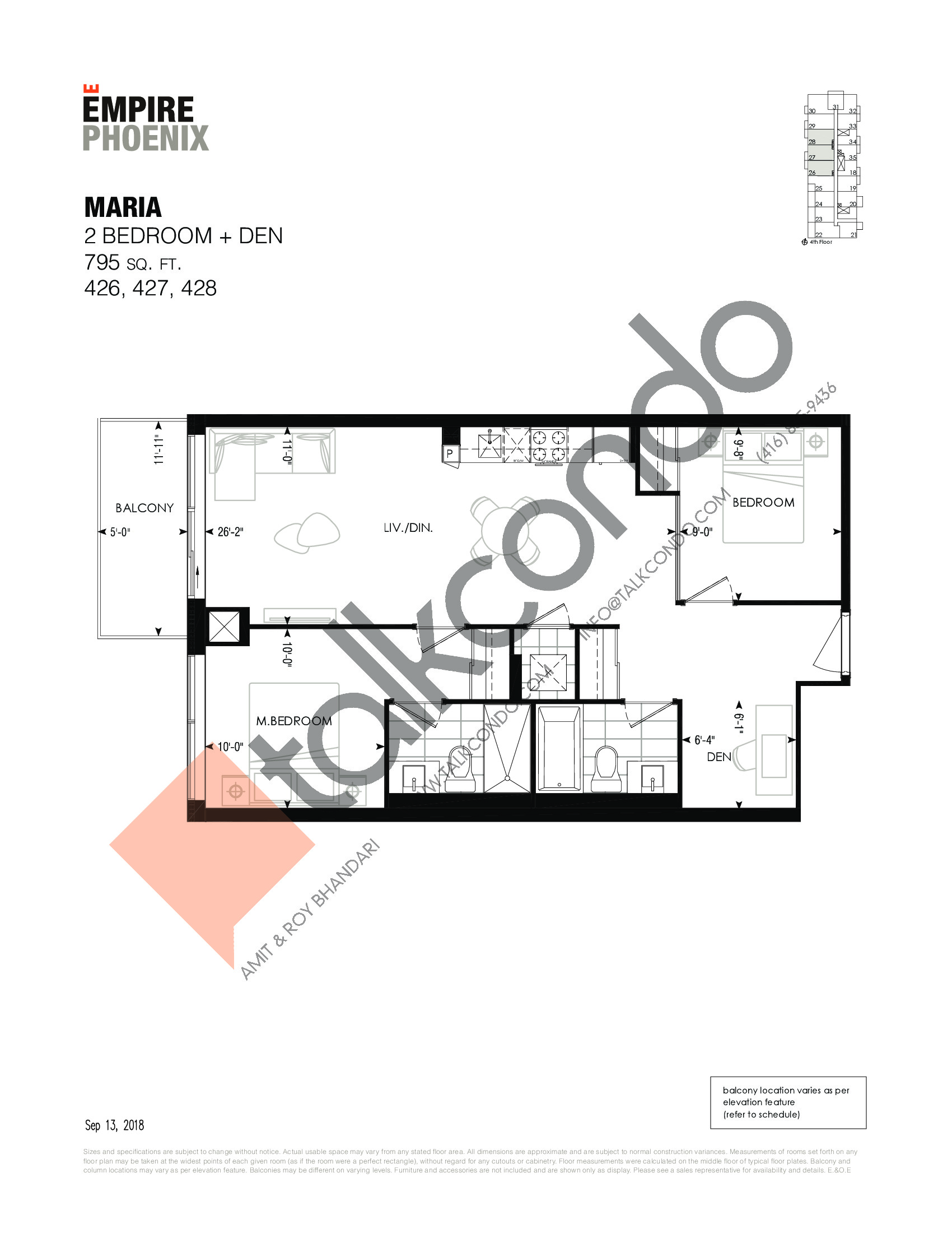 Maria Floor Plan at Empire Phoenix Phase 2 Condos - 795 sq.ft
