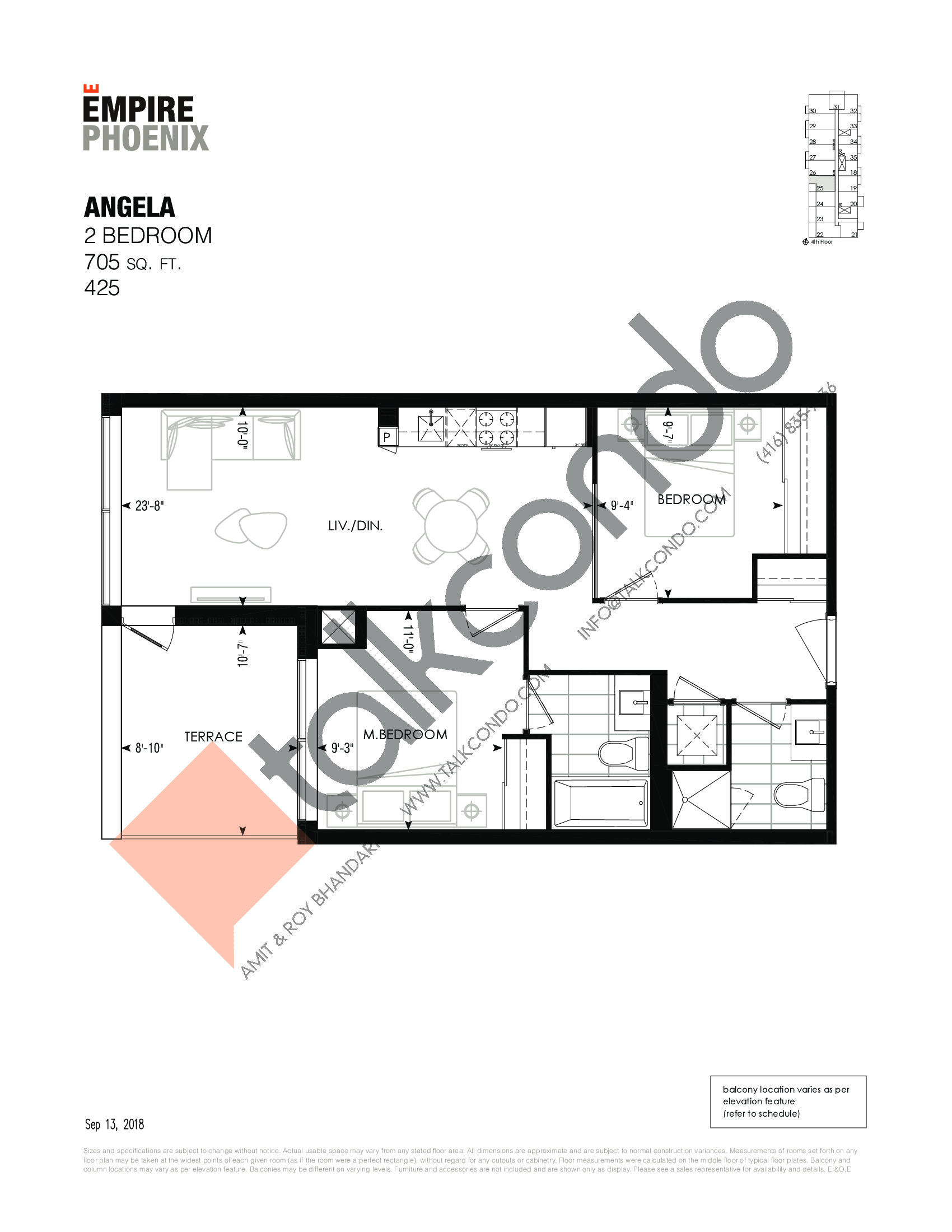 Angela Floor Plan at Empire Phoenix Phase 2 Condos - 705 sq.ft
