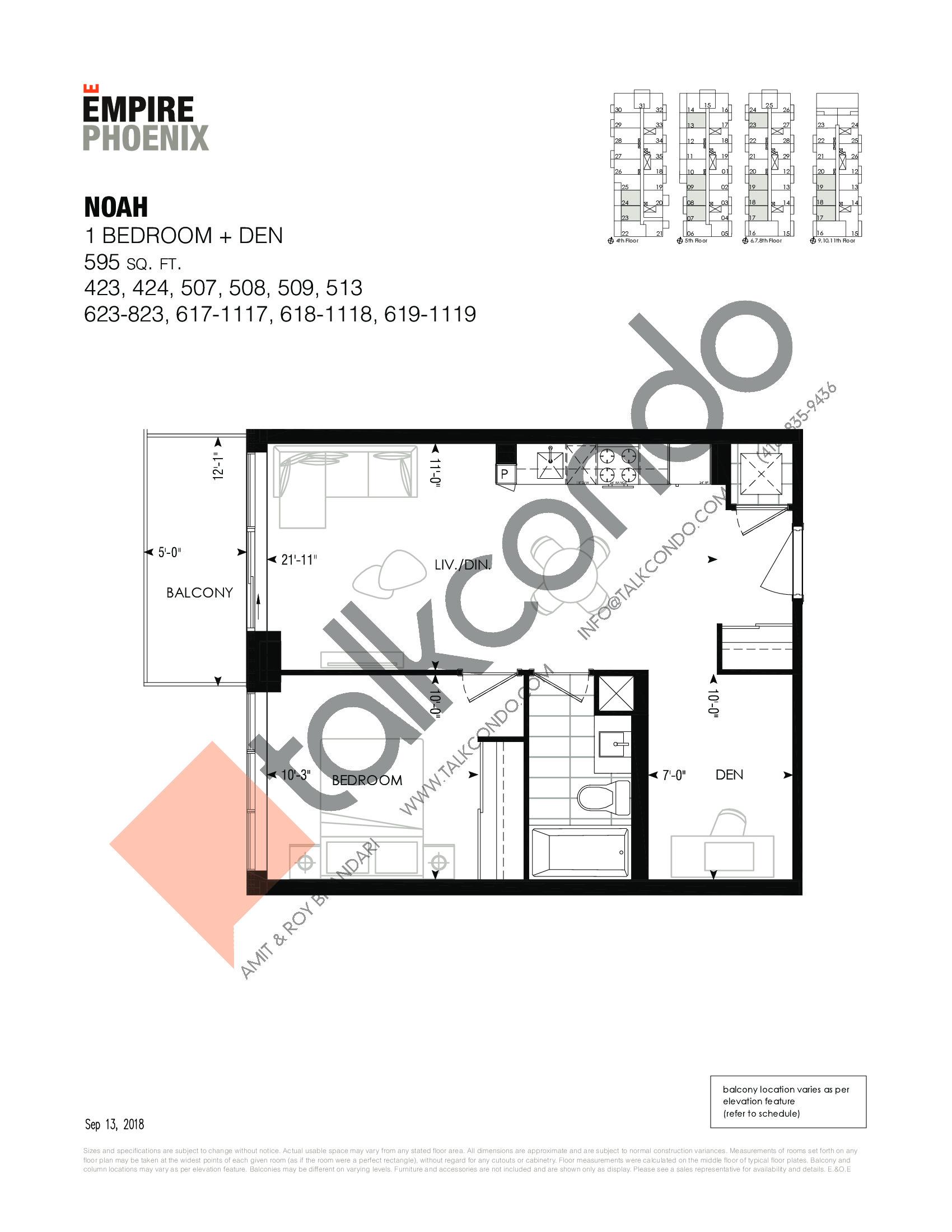Noah Floor Plan at Empire Phoenix Phase 2 Condos - 595 sq.ft