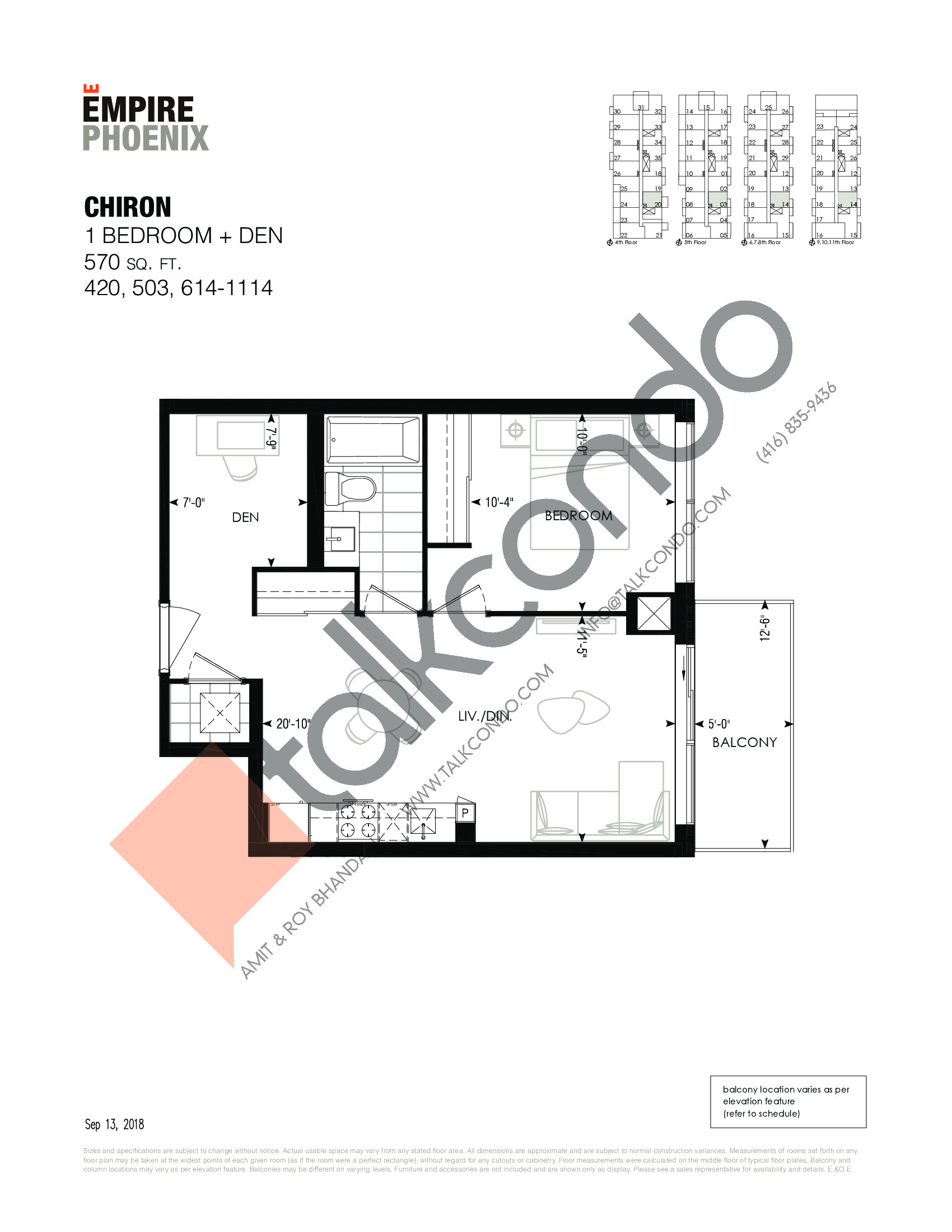 Chiron Floor Plan at Empire Phoenix Phase 2 Condos - 570 sq.ft