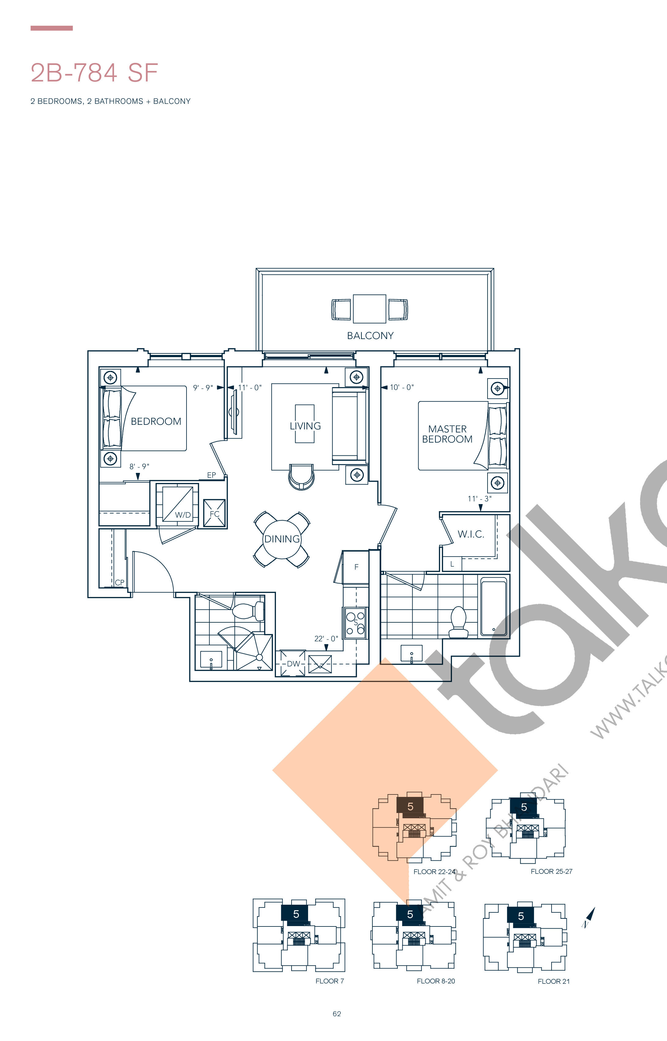 2B-784 SF Floor Plan at Evermore Condos - 784 sq.ft