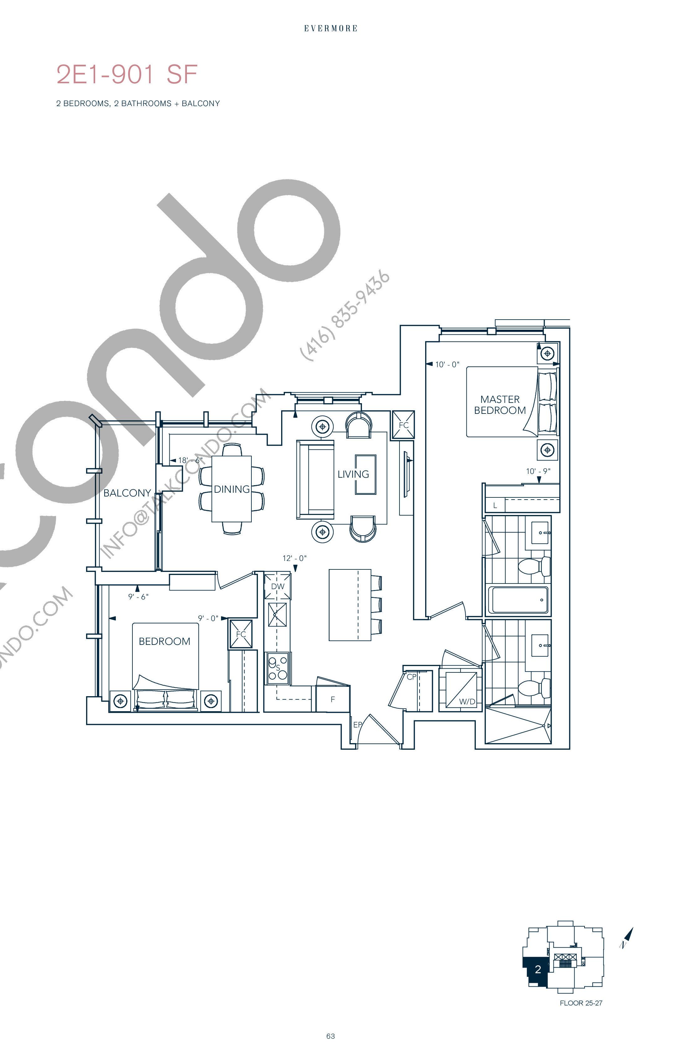 2E1-901 SF Floor Plan at Evermore Condos - 901 sq.ft