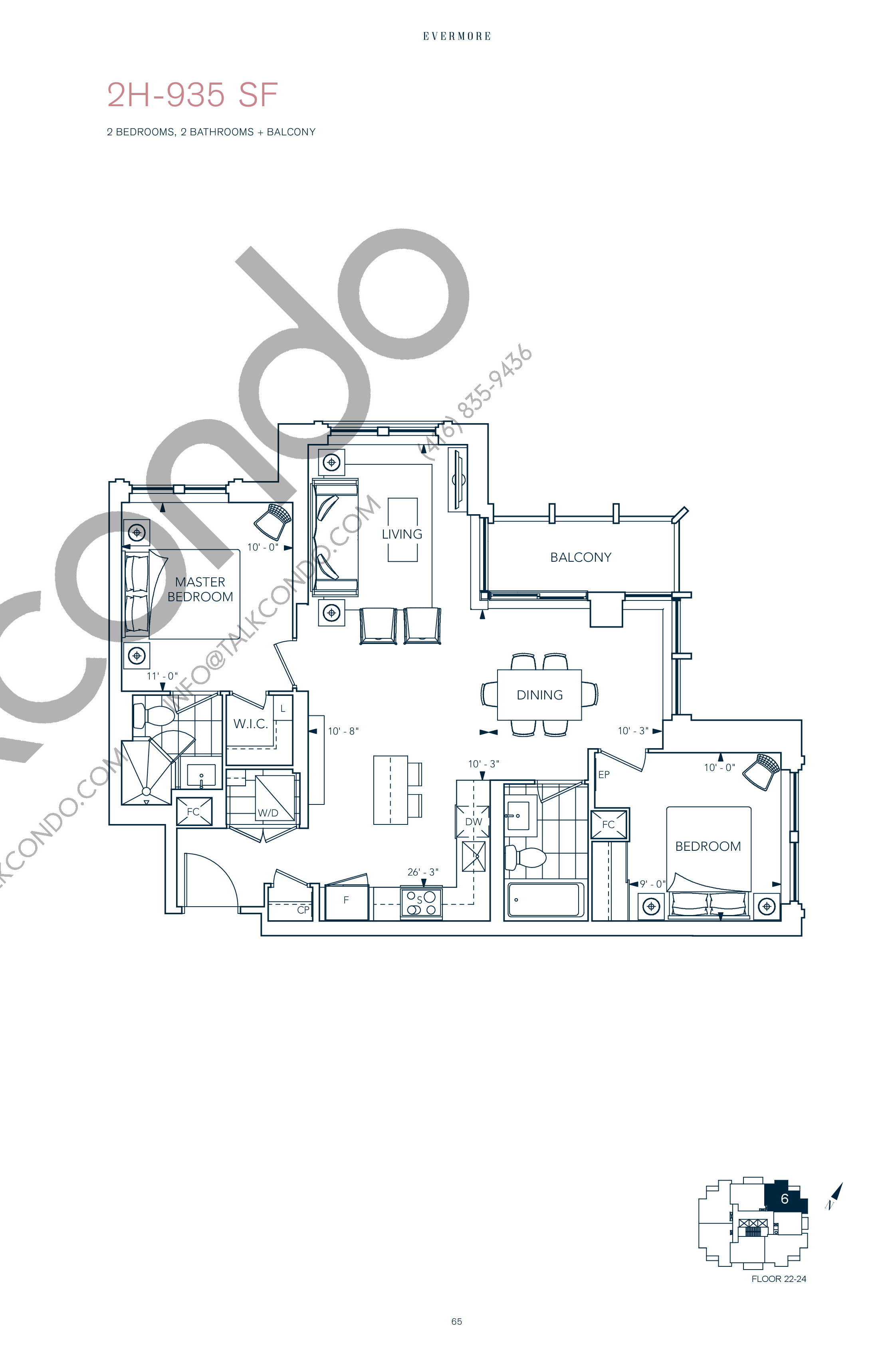 2H-935 SF Floor Plan at Evermore Condos - 935 sq.ft