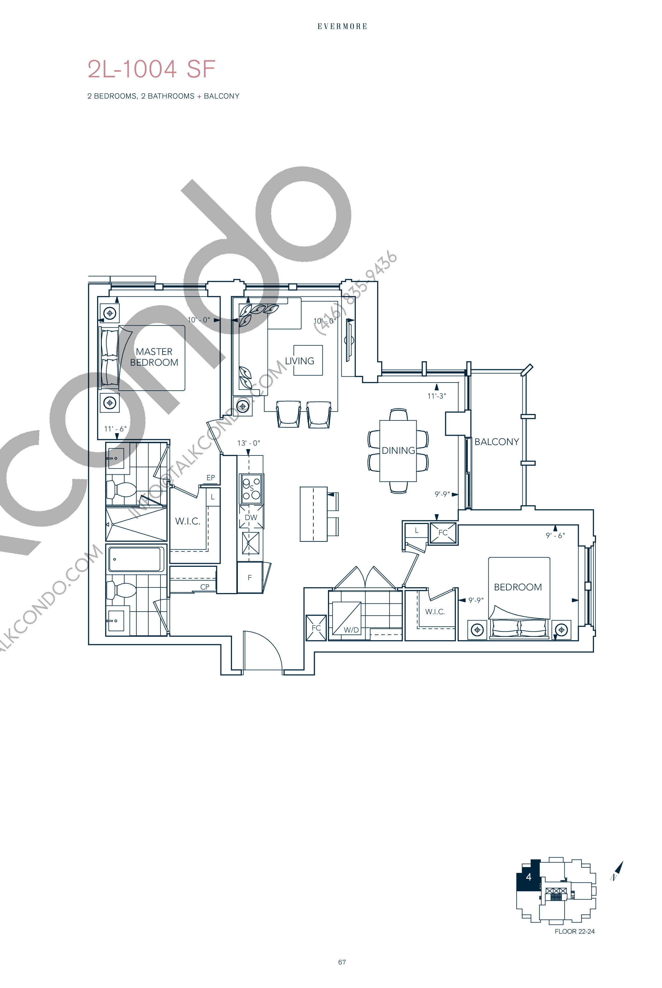 2L-1004 SF Floor Plan at Evermore Condos - 1004 sq.ft