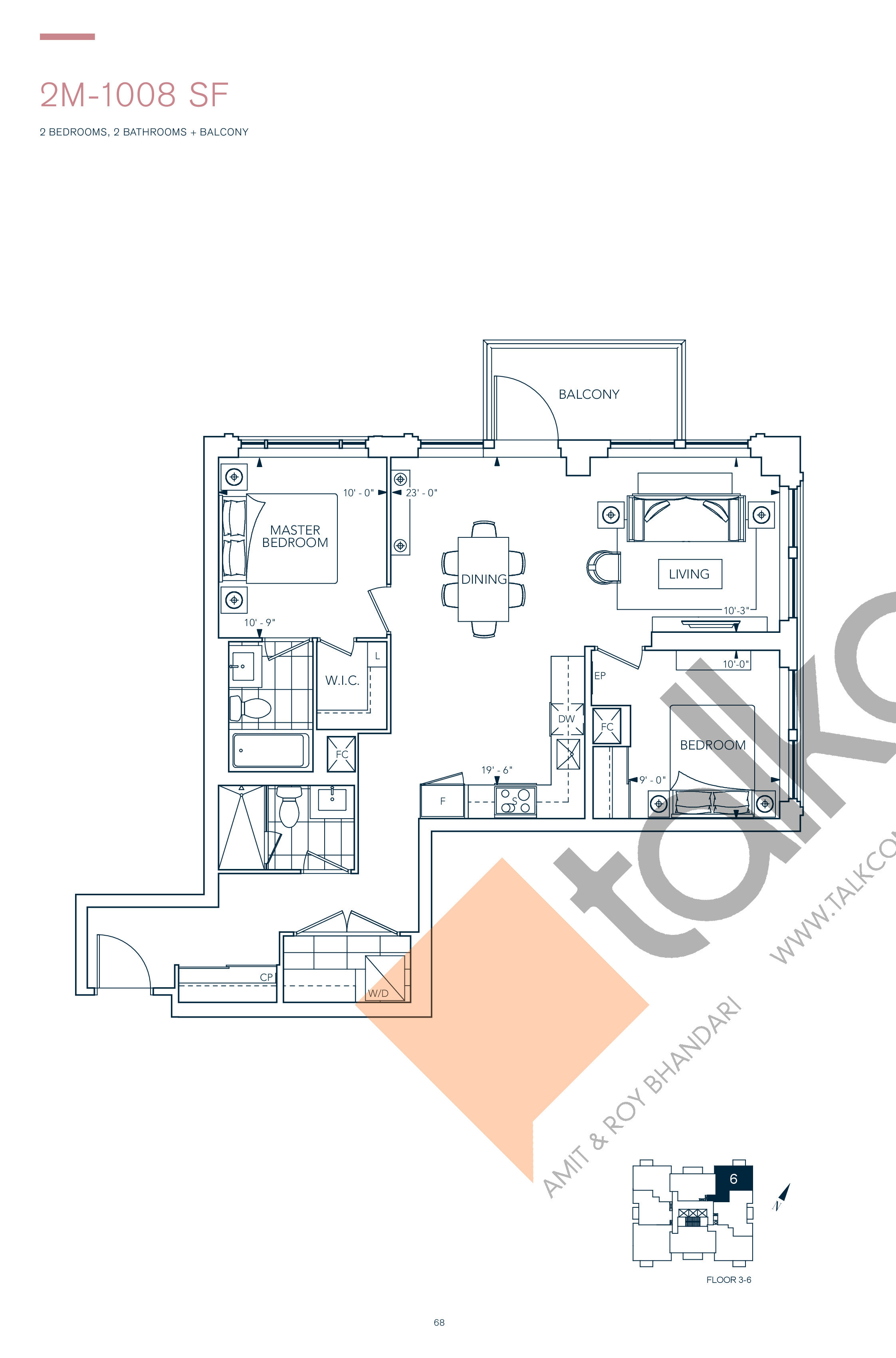 2M-1008 SF Floor Plan at Evermore Condos - 1008 sq.ft