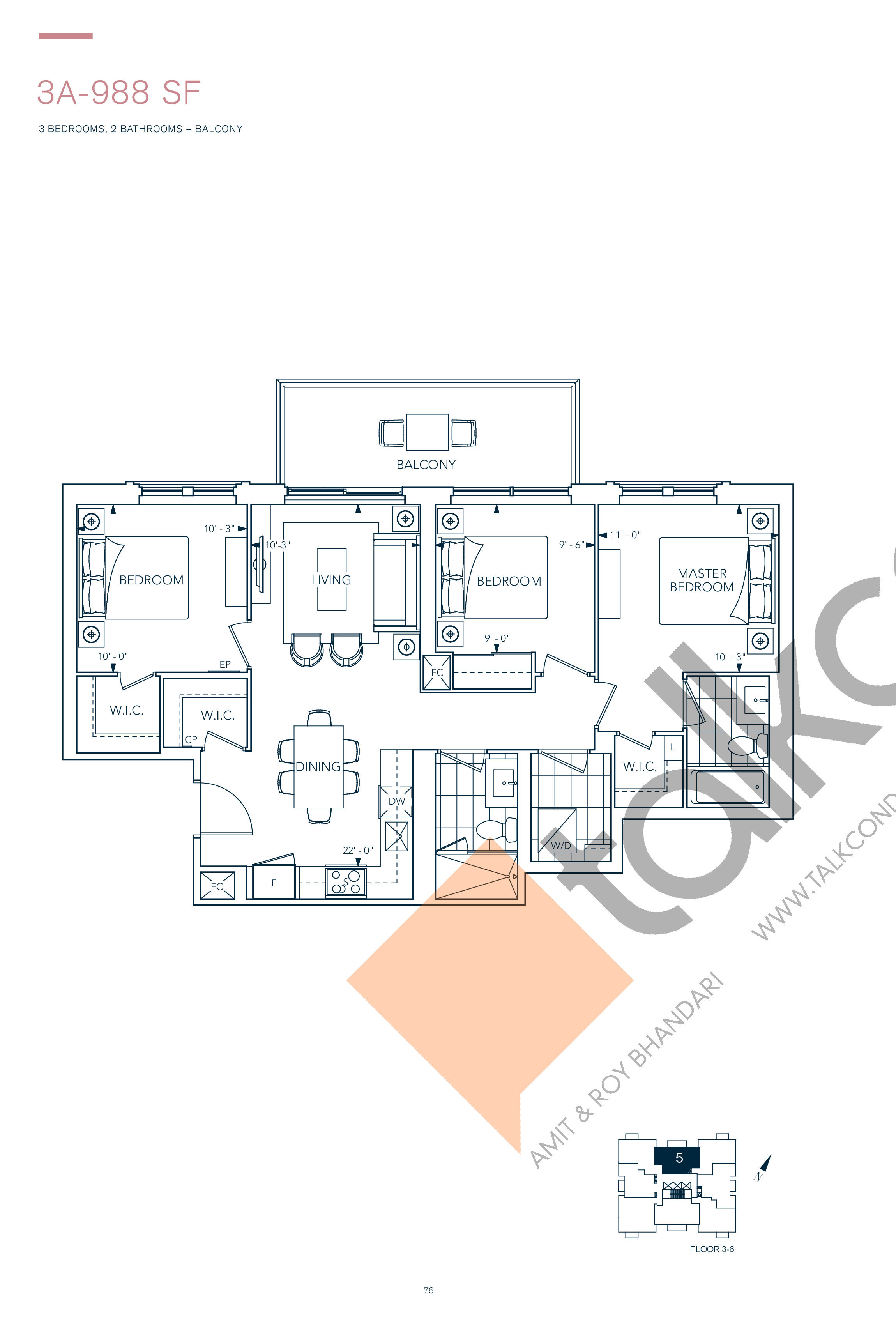 3A-988 SF Floor Plan at Evermore Condos - 988 sq.ft