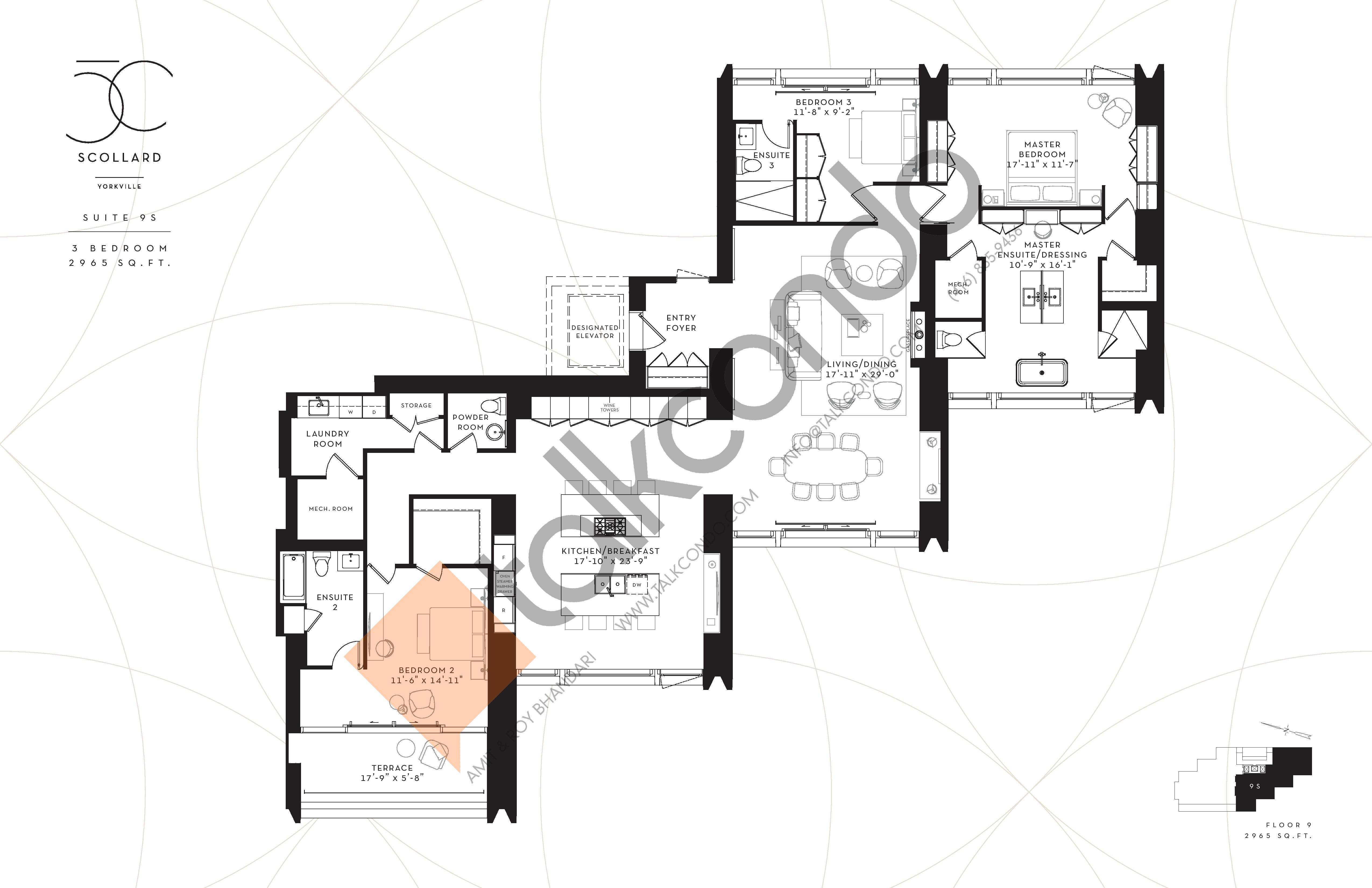 Suite 9S Floor Plan at Fifty Scollard Condos - 2965 sq.ft