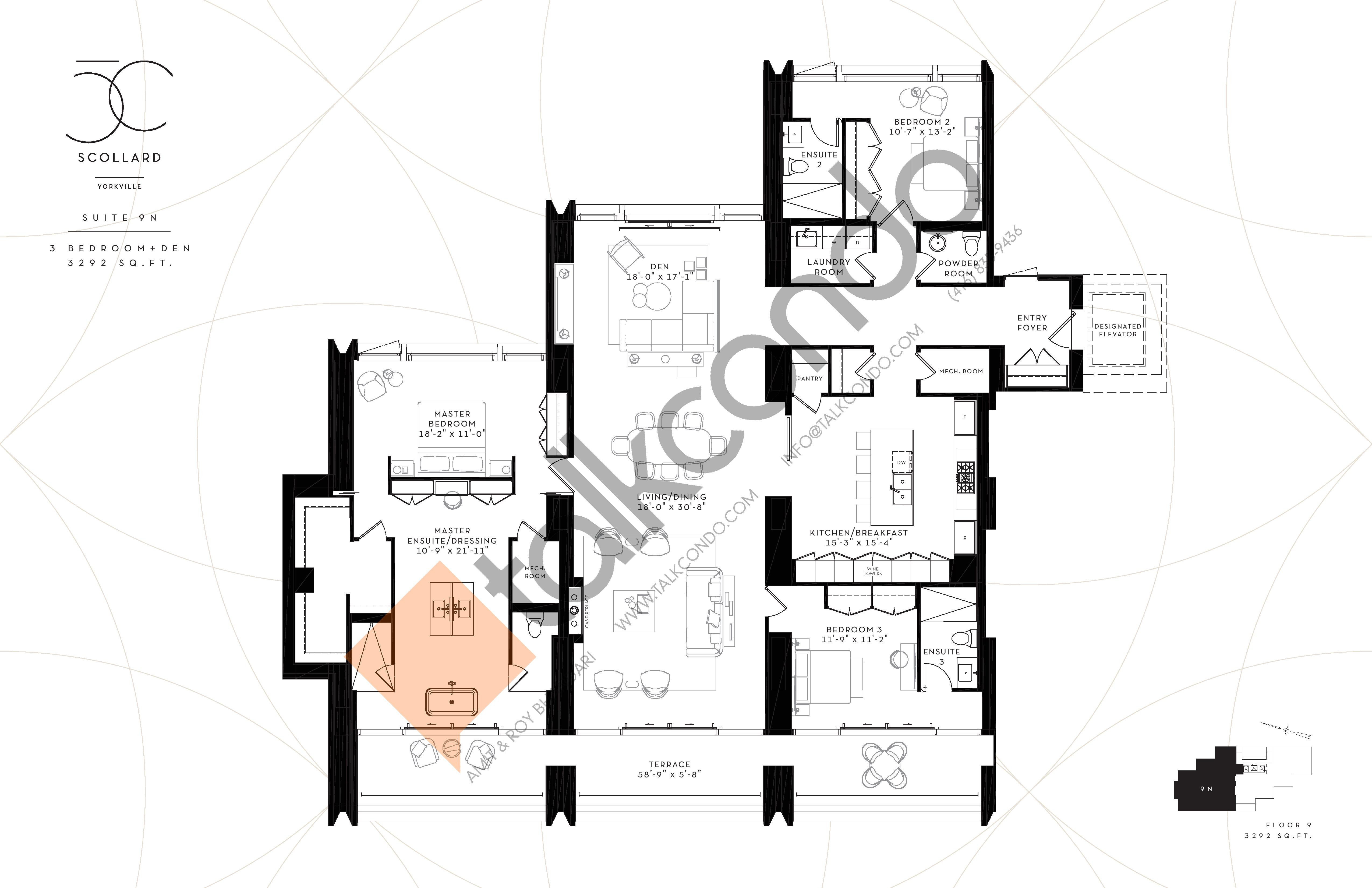 Suite 9N Floor Plan at Fifty Scollard Condos - 3292 sq.ft
